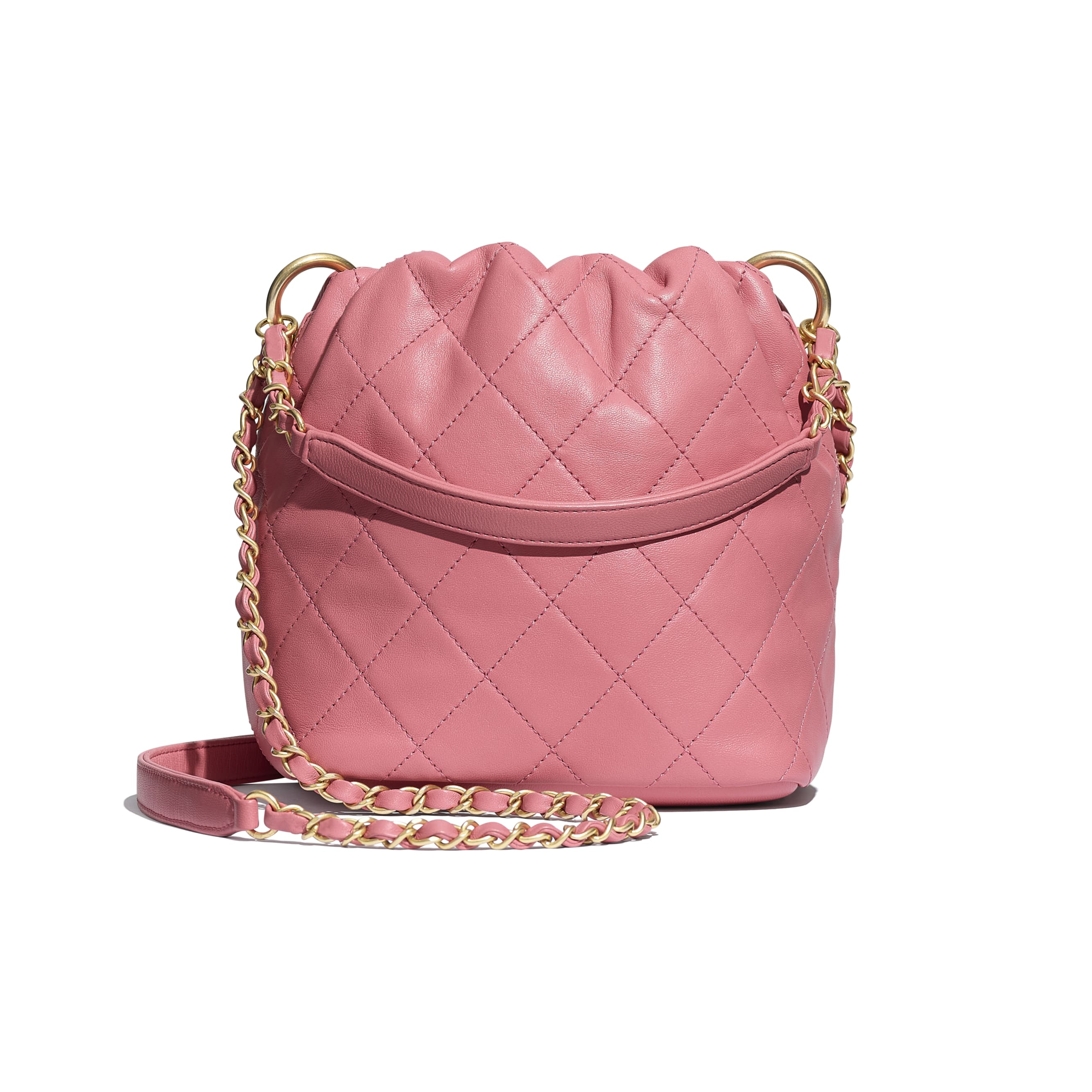 Small Drawstring Bag - Pink - Lambskin - Alternative view - see standard sized version
