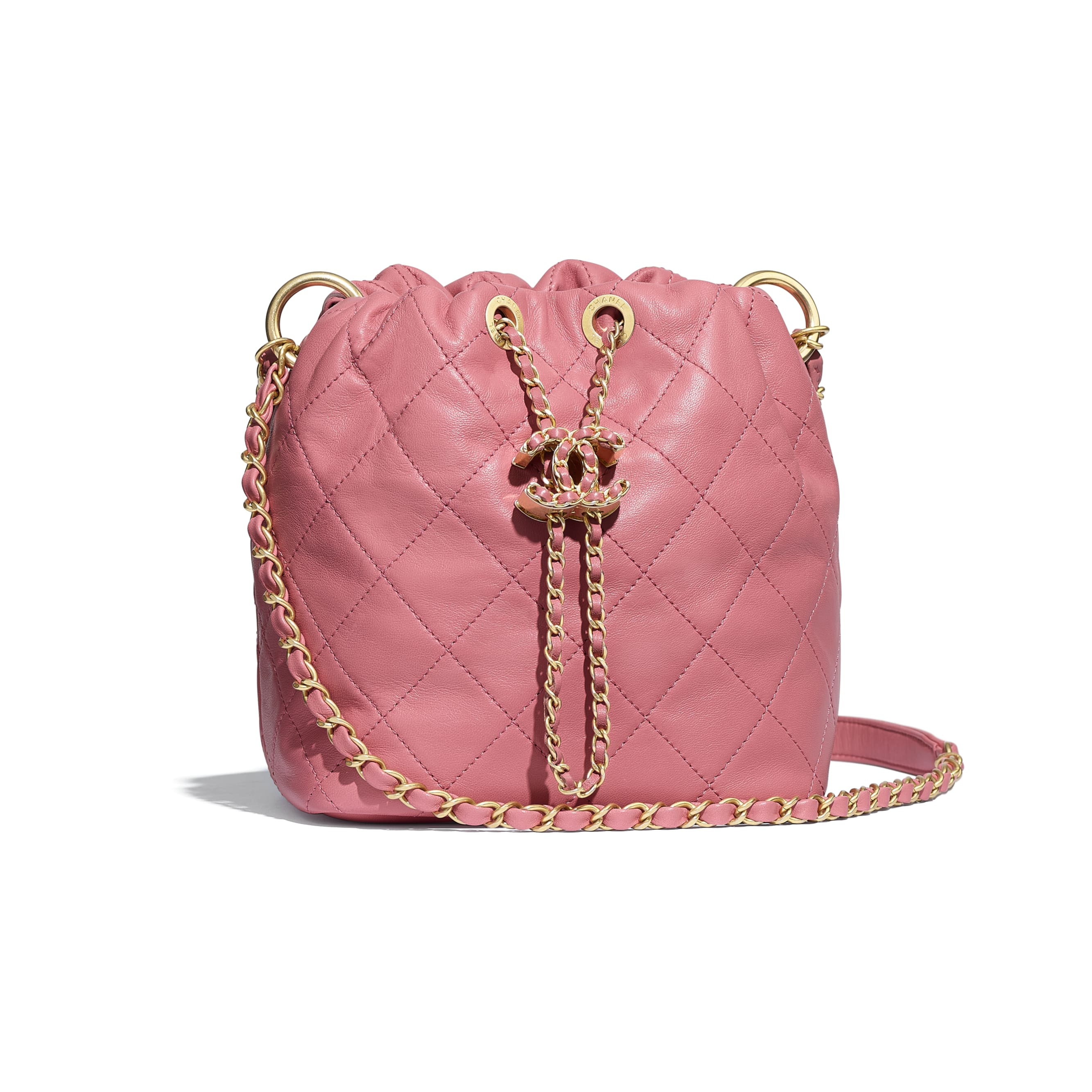 Small Drawstring Bag - Pink - Lambskin - Default view - see standard sized version