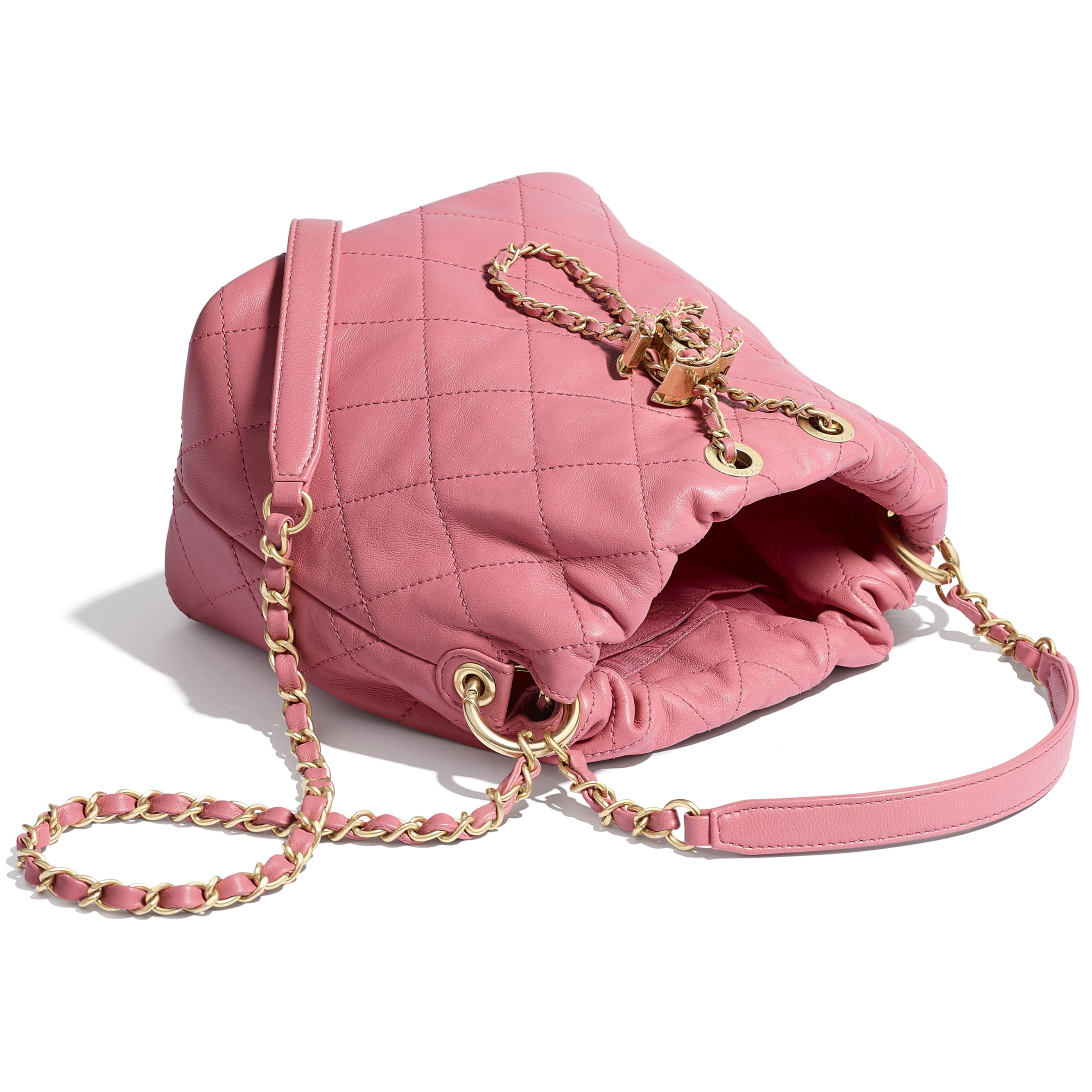 Small Drawstring Bag - Pink - Lambskin - Other view - see standard sized version