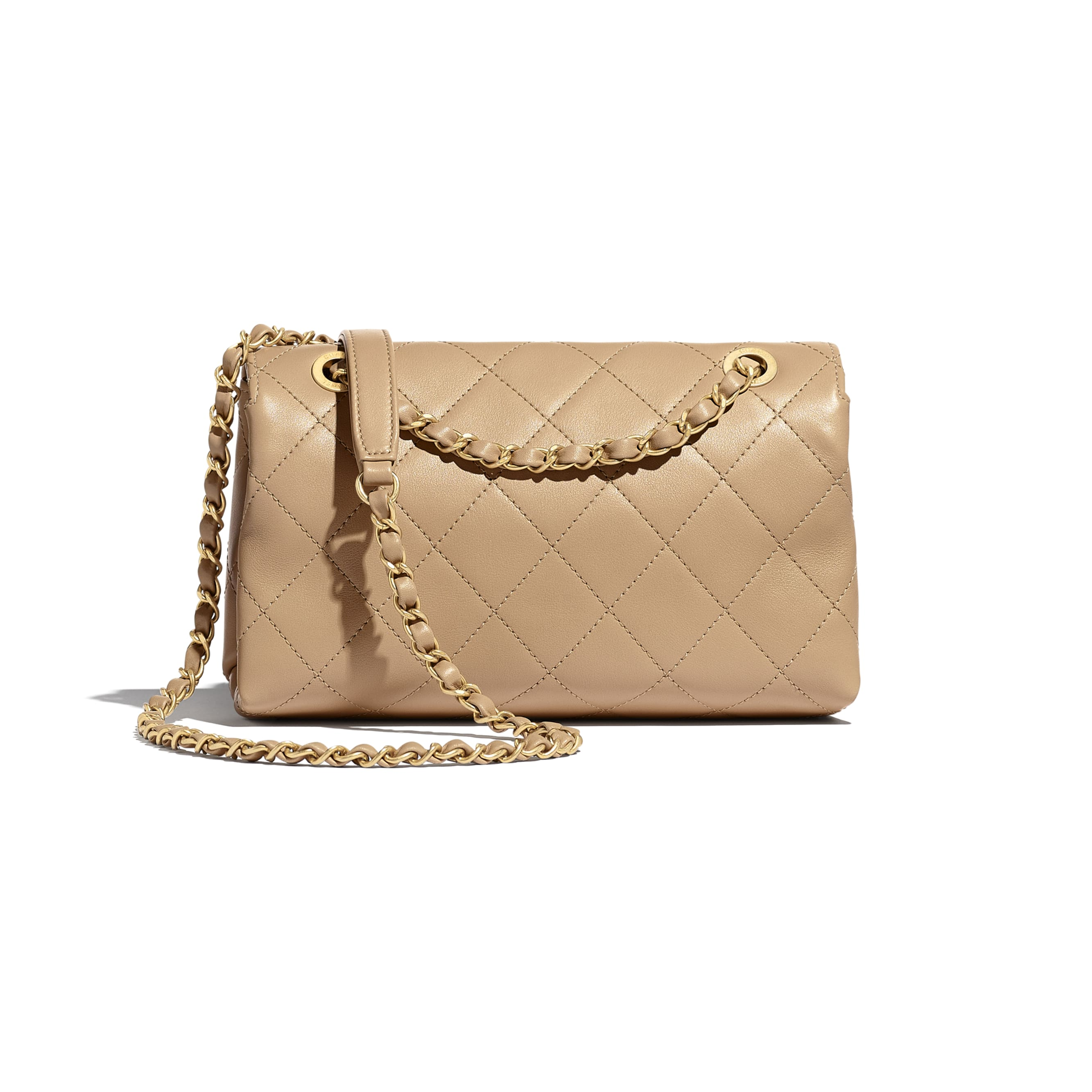 Small Flap Bag - Beige - Calfskin & Gold-Tone Metal - Alternative view - see standard sized version