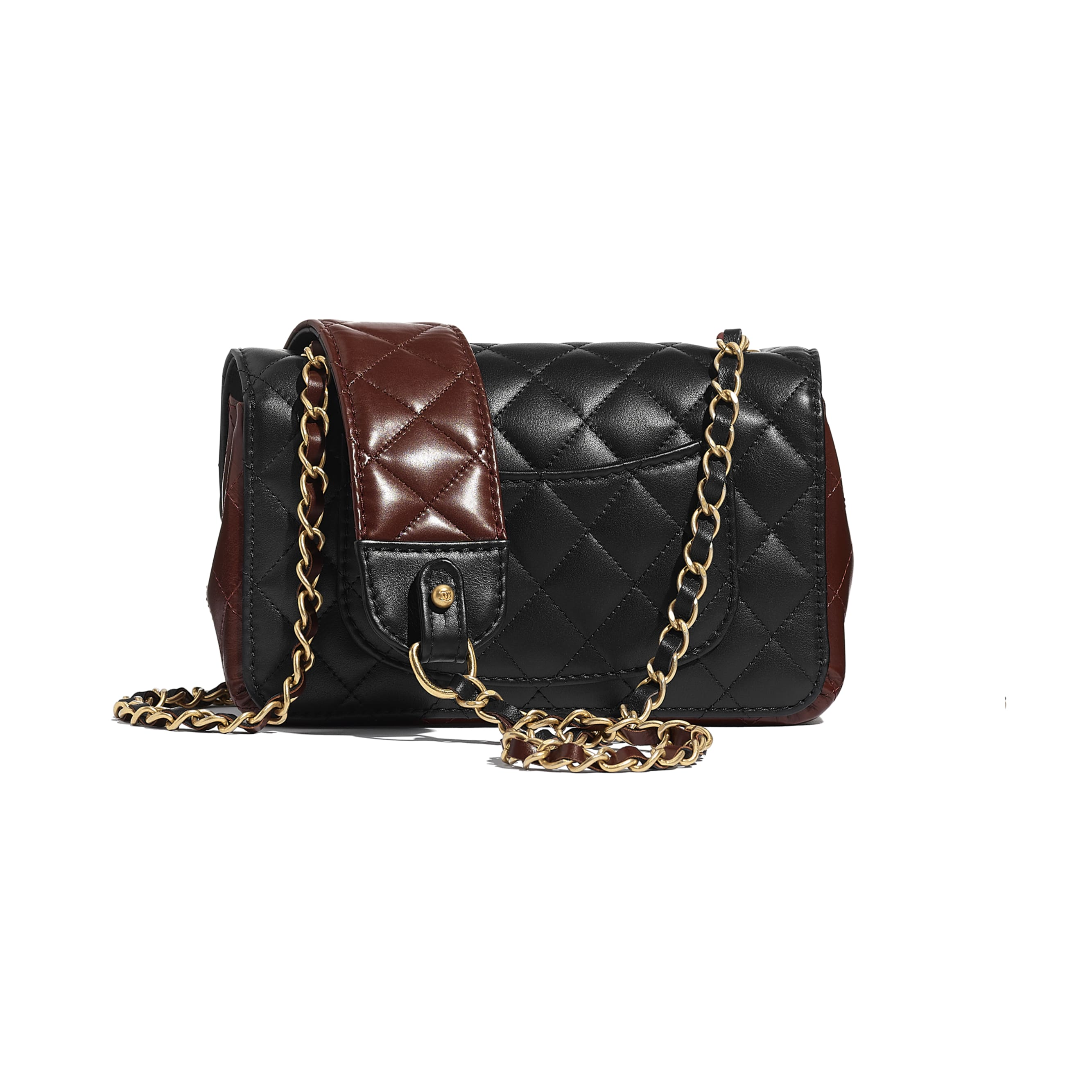 Small Flap Bag - Black & Brown - Calfskin & Gold-Tone Metal - CHANEL - Alternative view - see standard sized version