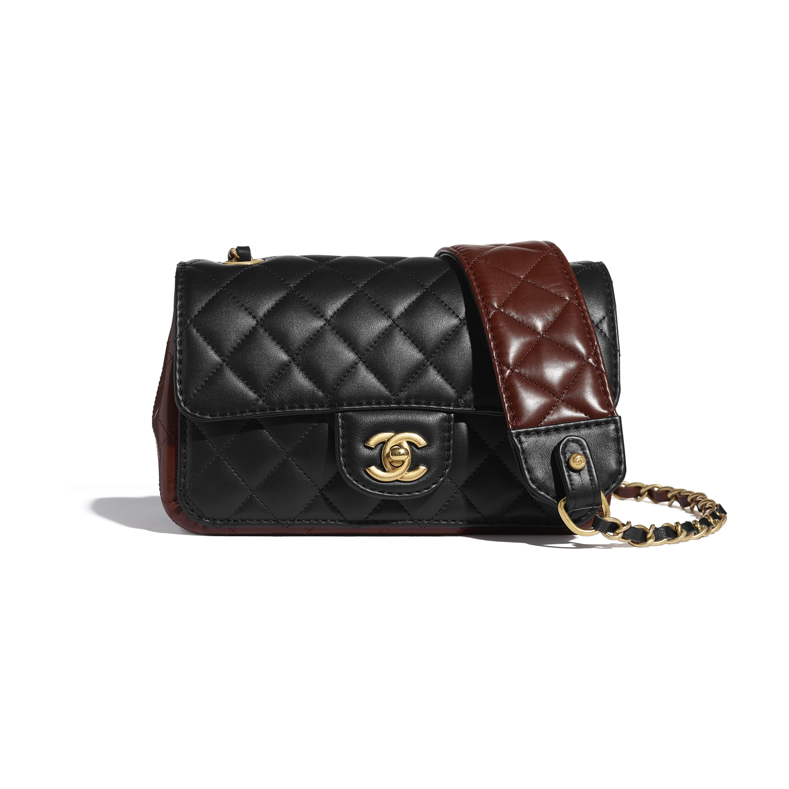Small Flap Bag - Black & Brown - Calfskin & Gold-Tone Metal - CHANEL - Default view - see standard sized version