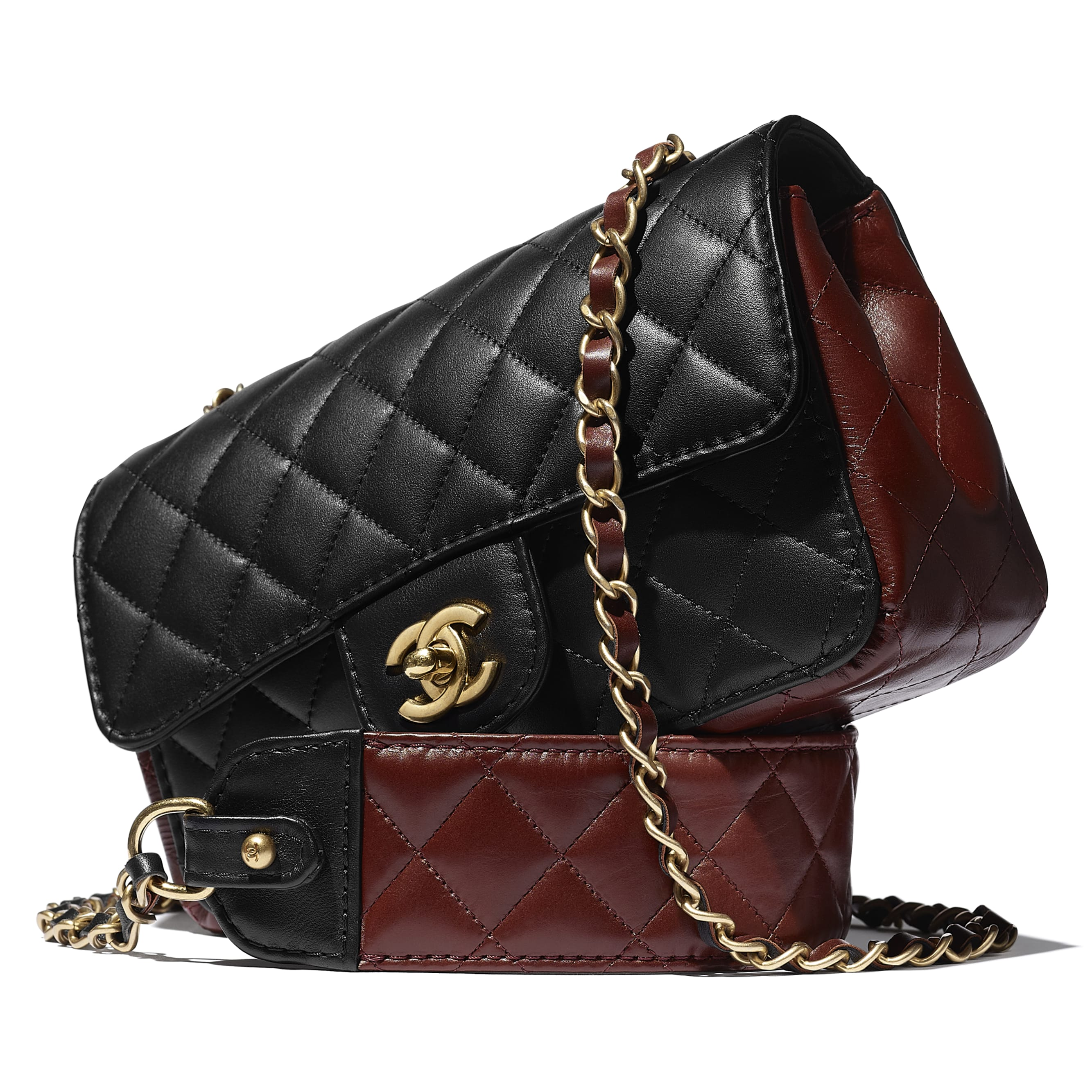 Small Flap Bag - Black & Brown - Calfskin & Gold-Tone Metal - CHANEL - Extra view - see standard sized version