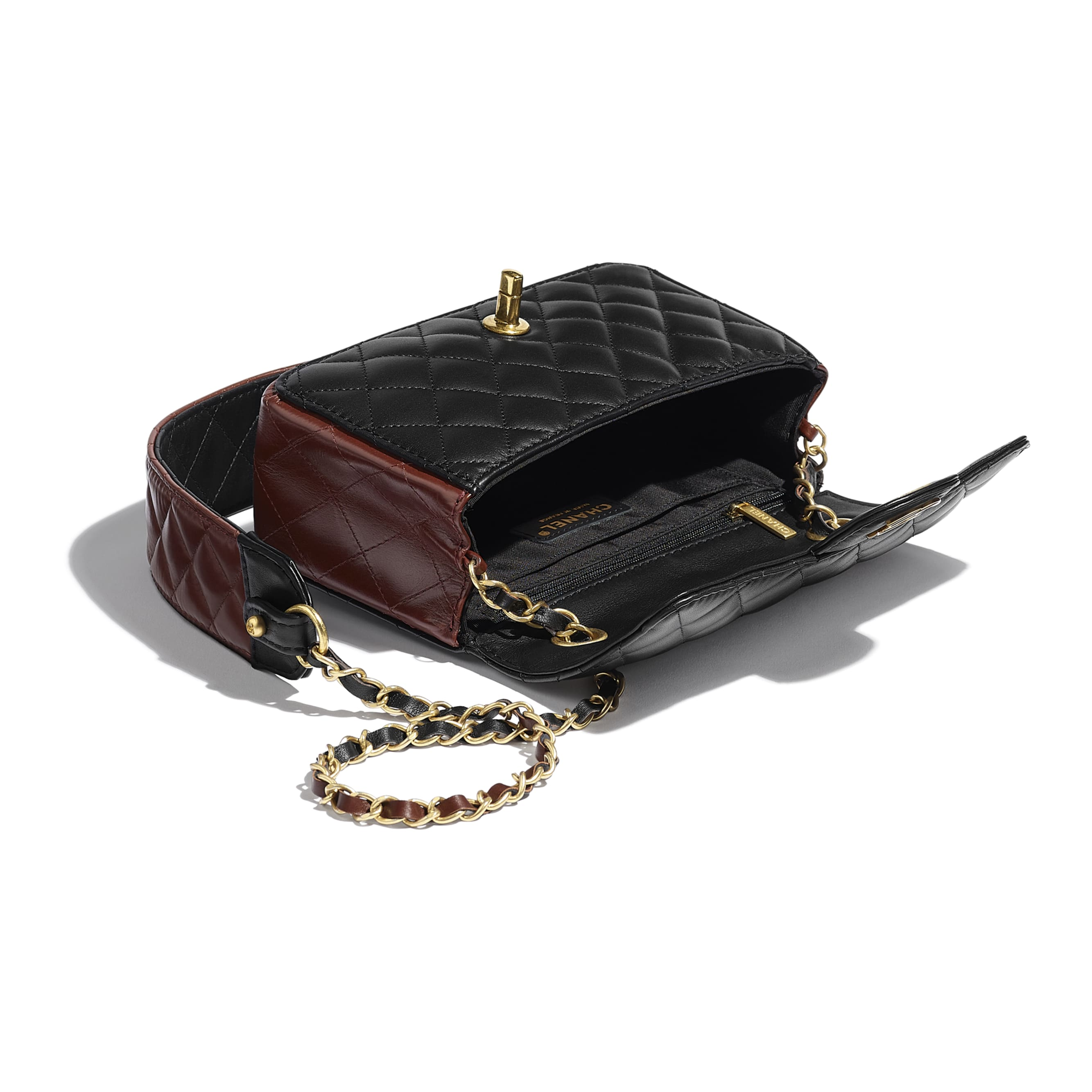 Small Flap Bag - Black & Brown - Calfskin & Gold-Tone Metal - CHANEL - Other view - see standard sized version