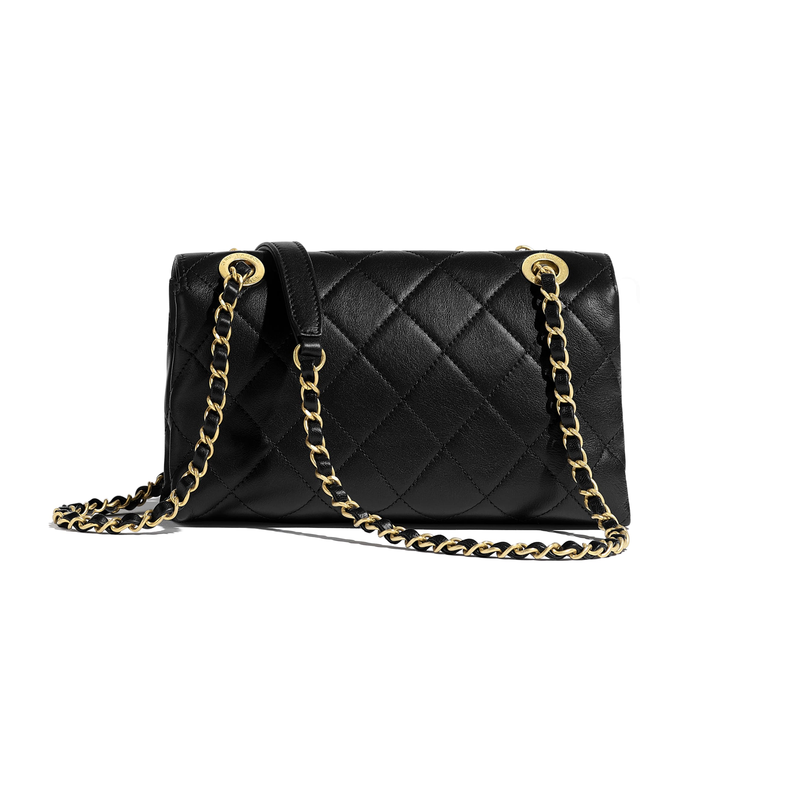 Small Flap Bag - Black - Calfskin & Gold-Tone Metal - Alternative view - see standard sized version
