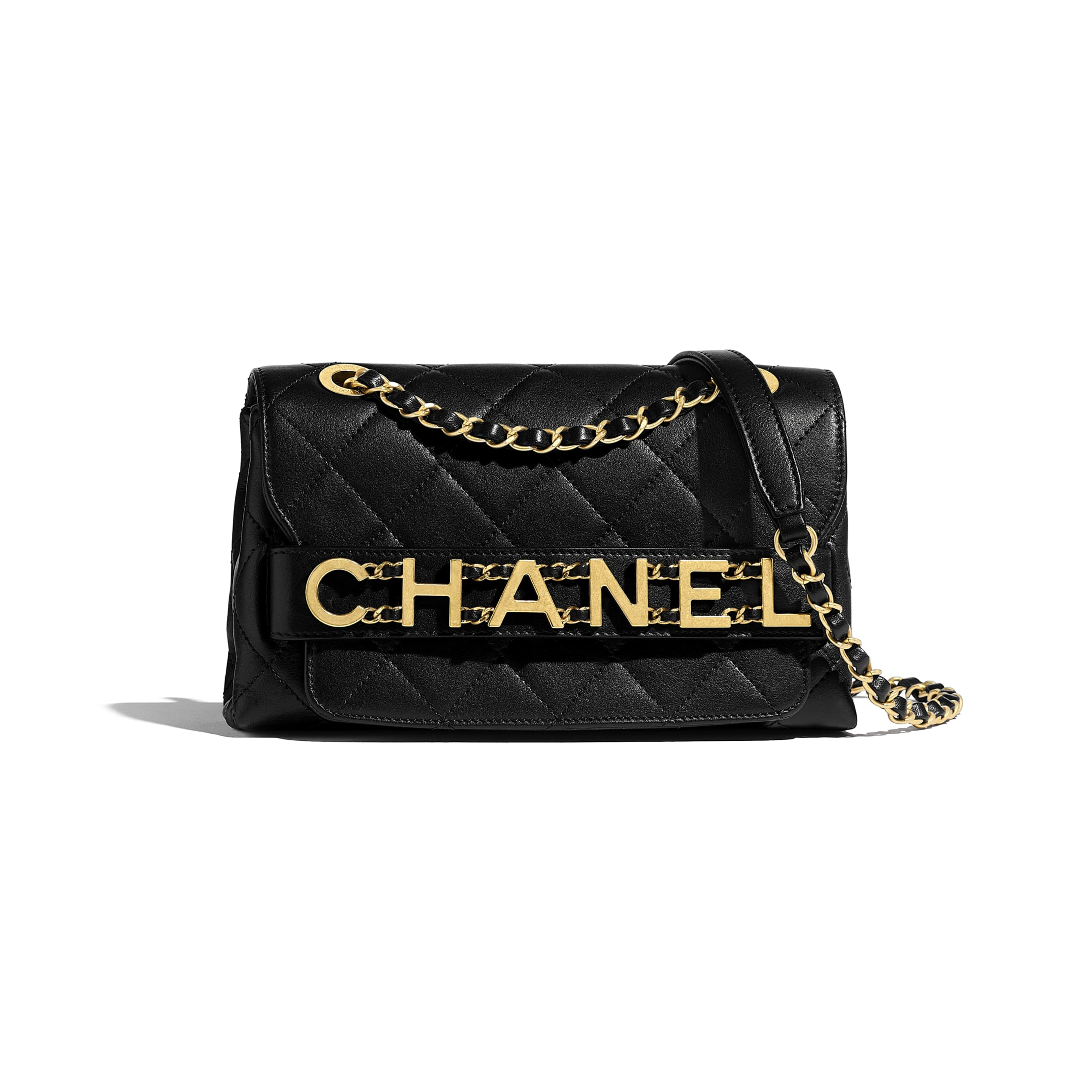 Small Flap Bag - Black - Calfskin & Gold-Tone Metal - Default view - see standard sized version