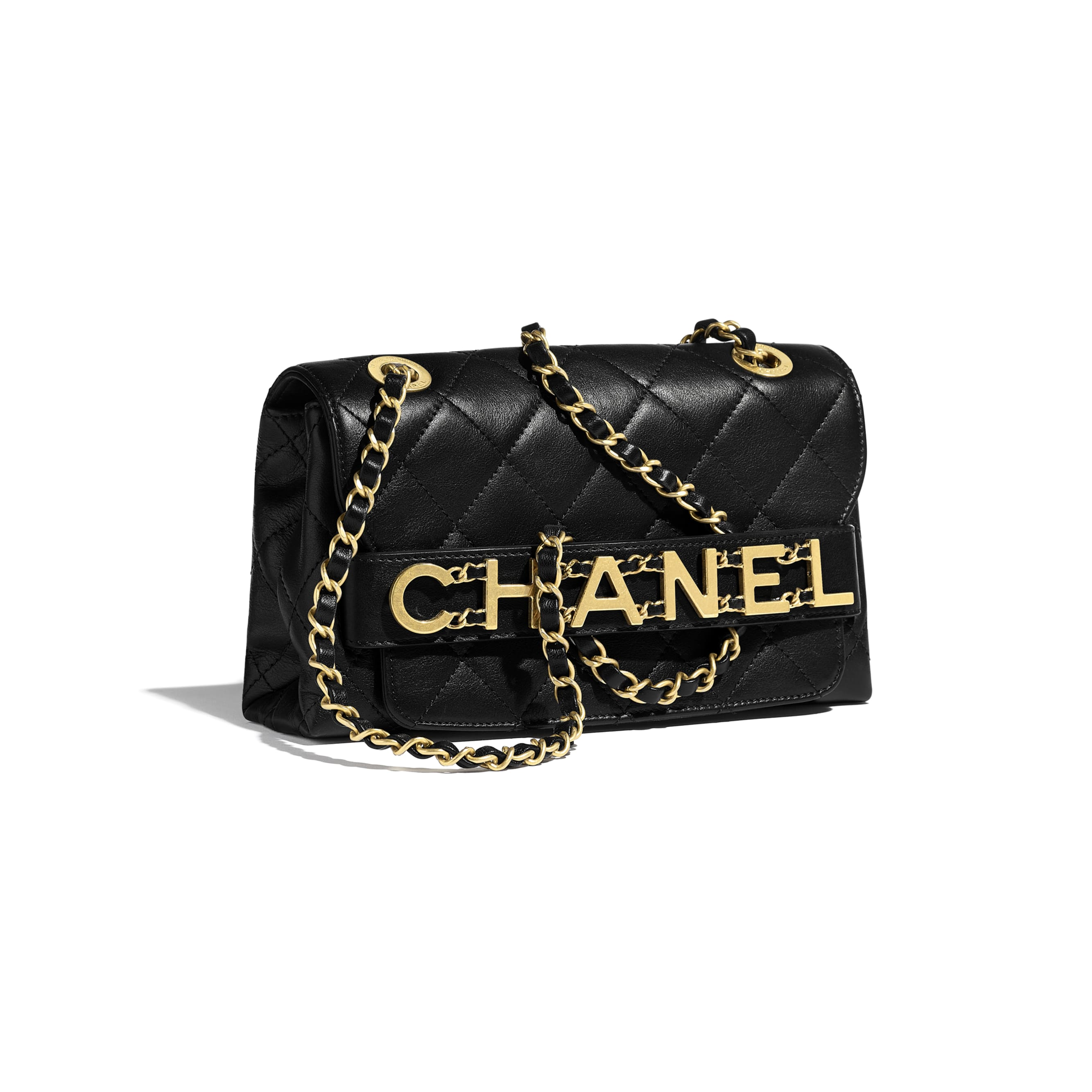 Small Flap Bag - Black - Calfskin & Gold-Tone Metal - Extra view - see standard sized version