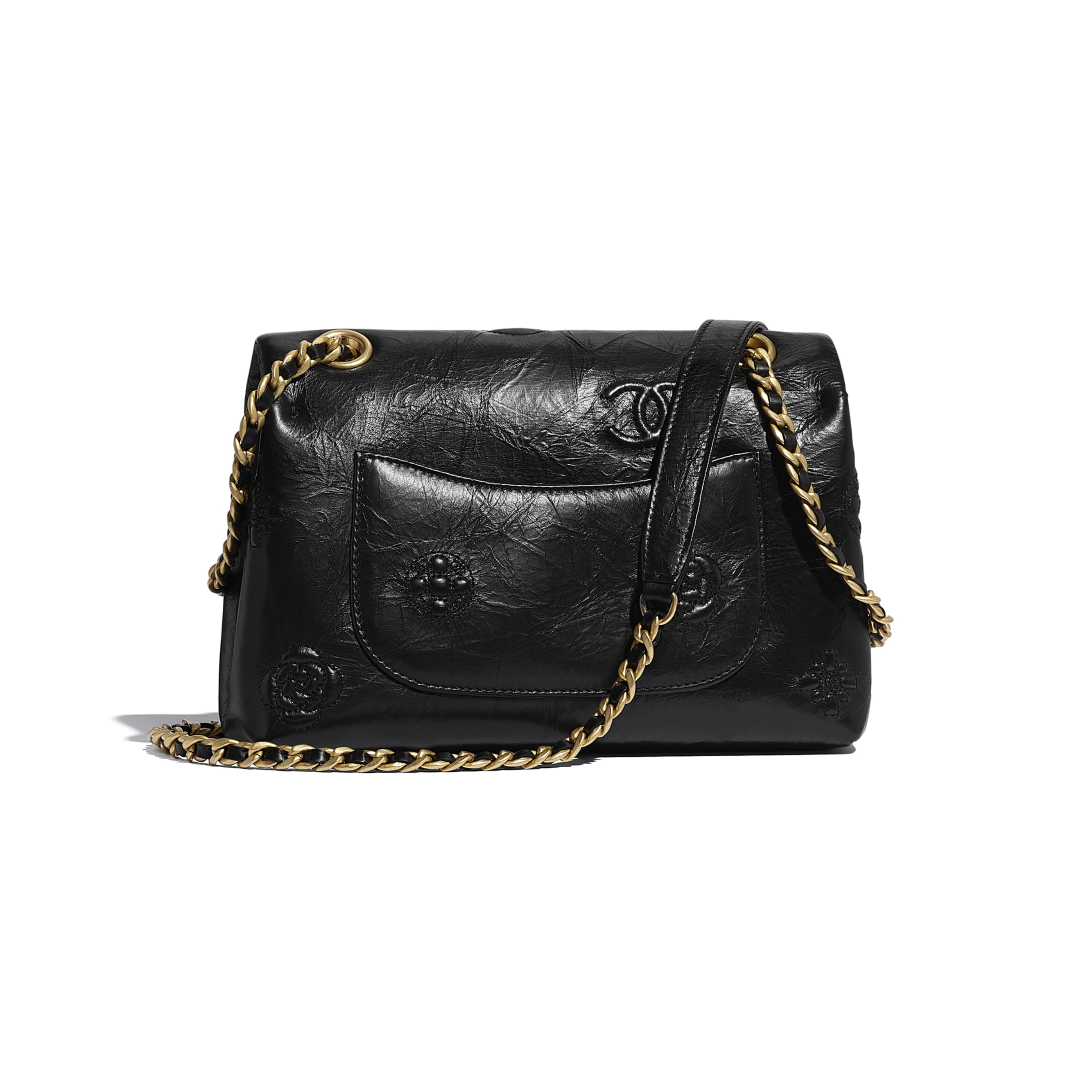 Small Flap Bag - Black - Crumpled Calfskin & Gold Metal - CHANEL - Alternative view - see standard sized version