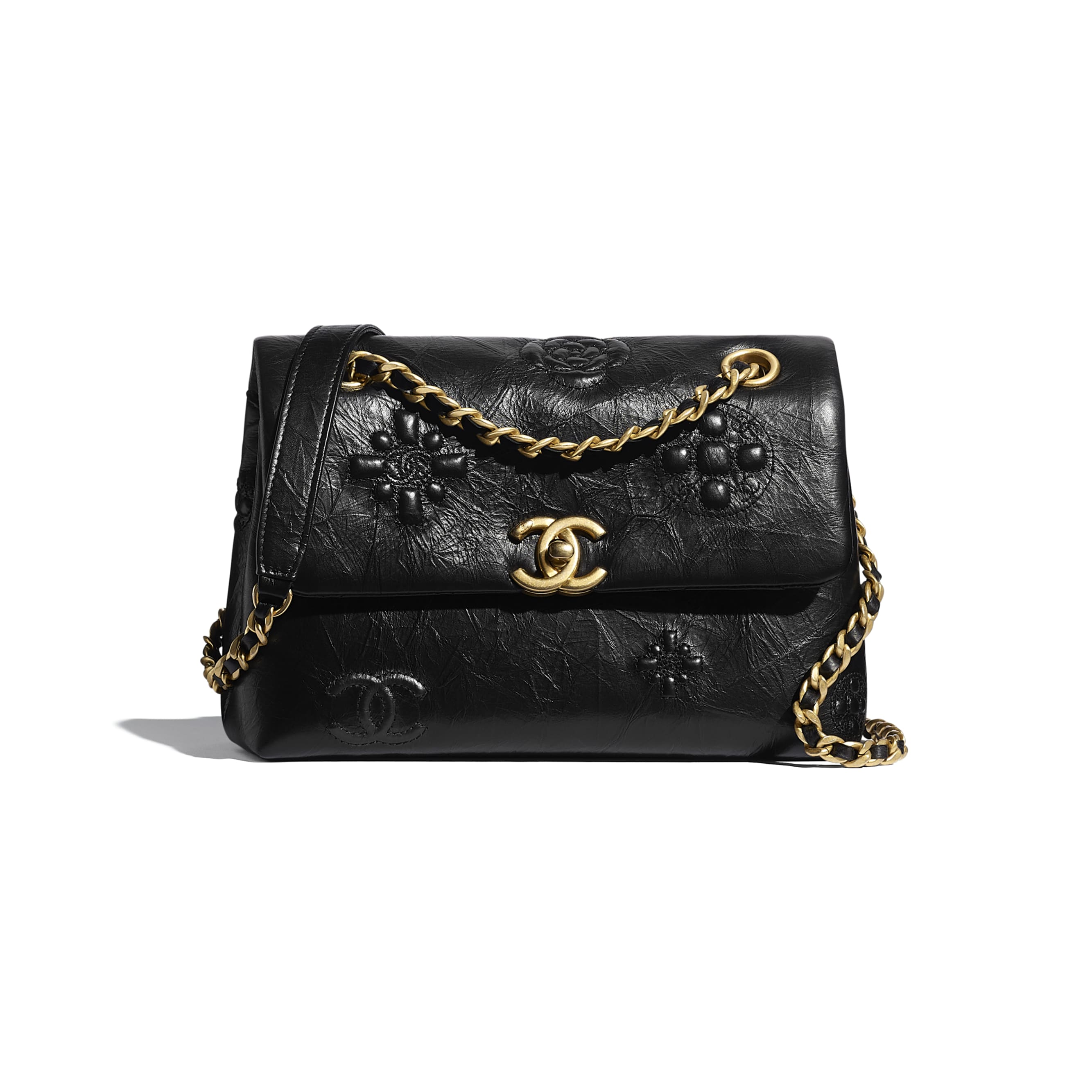 Small Flap Bag - Black - Crumpled Calfskin & Gold Metal - CHANEL - Default view - see standard sized version