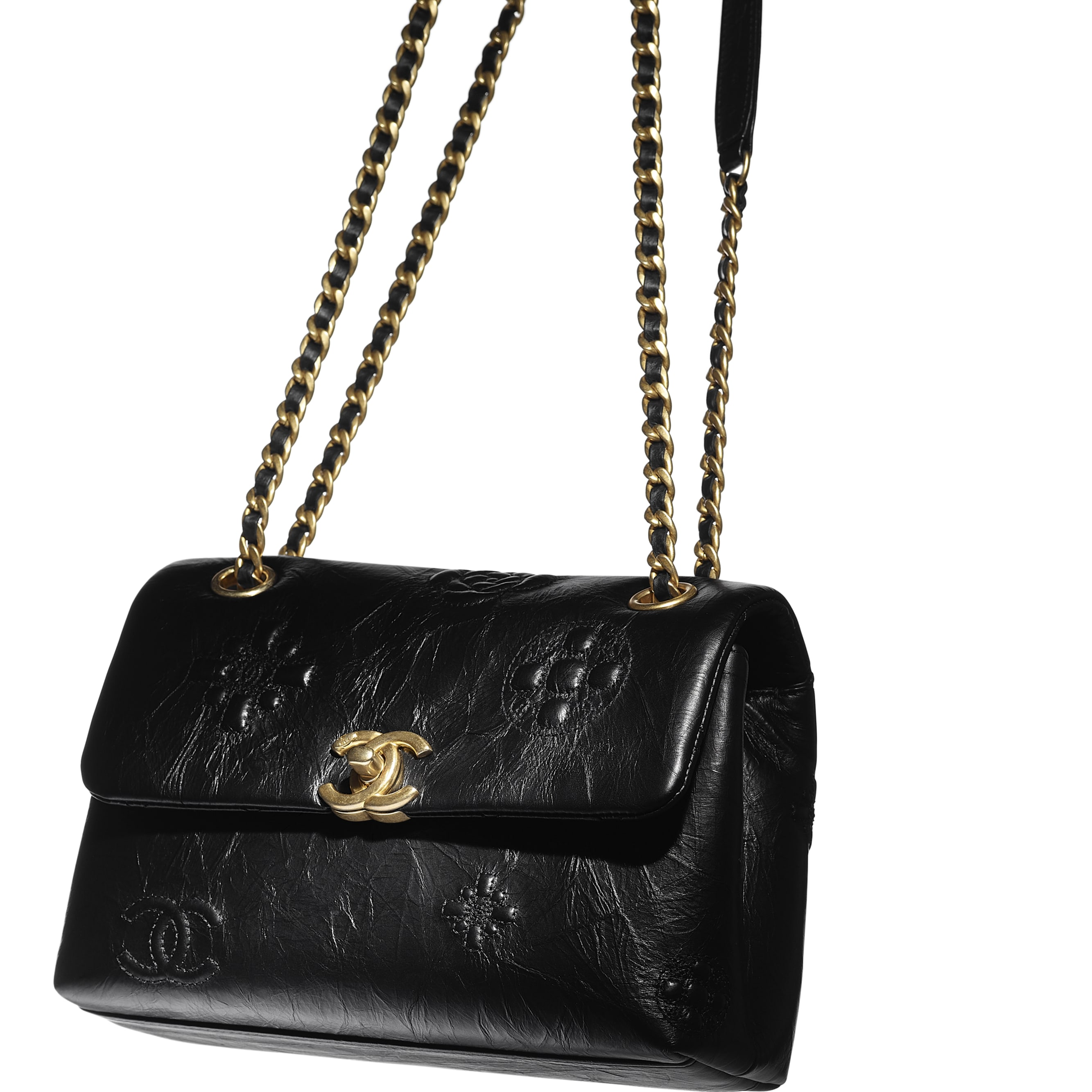 Small Flap Bag - Black - Crumpled Calfskin & Gold Metal - CHANEL - Extra view - see standard sized version