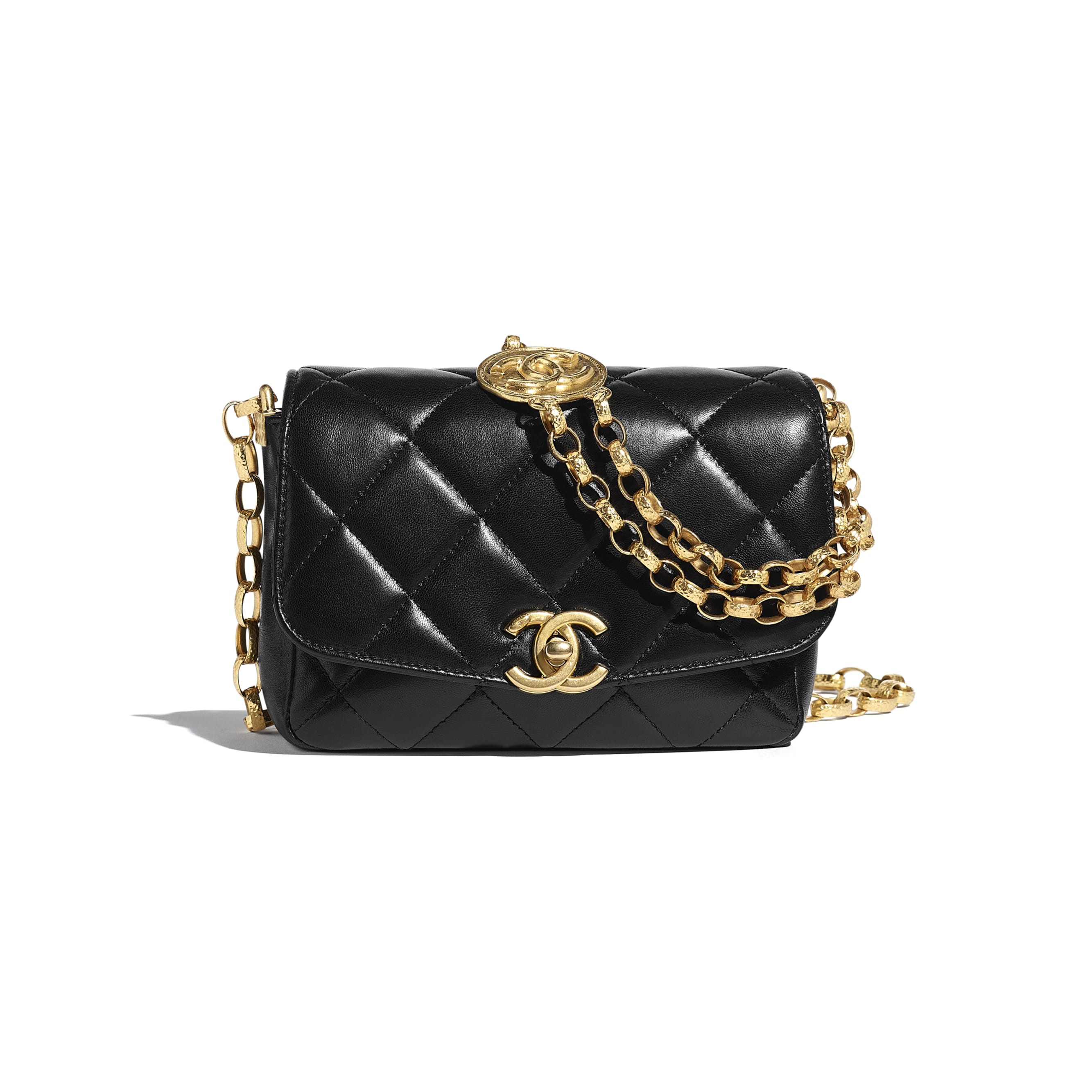 Small Flap Bag - Black - Lambskin & Gold-Tone Metal - CHANEL - Default view - see standard sized version