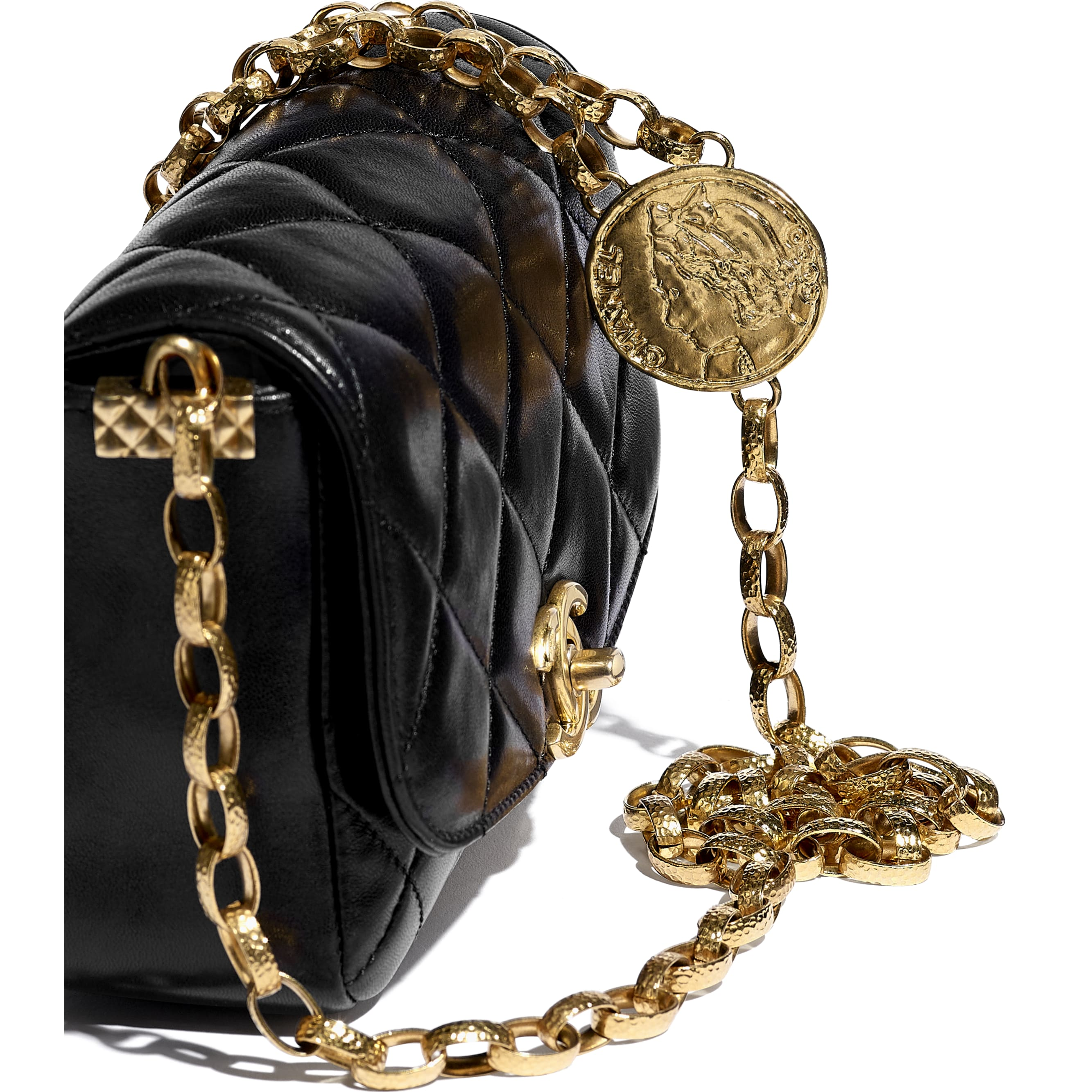 Small Flap Bag - Black - Lambskin & Gold-Tone Metal - CHANEL - Extra view - see standard sized version