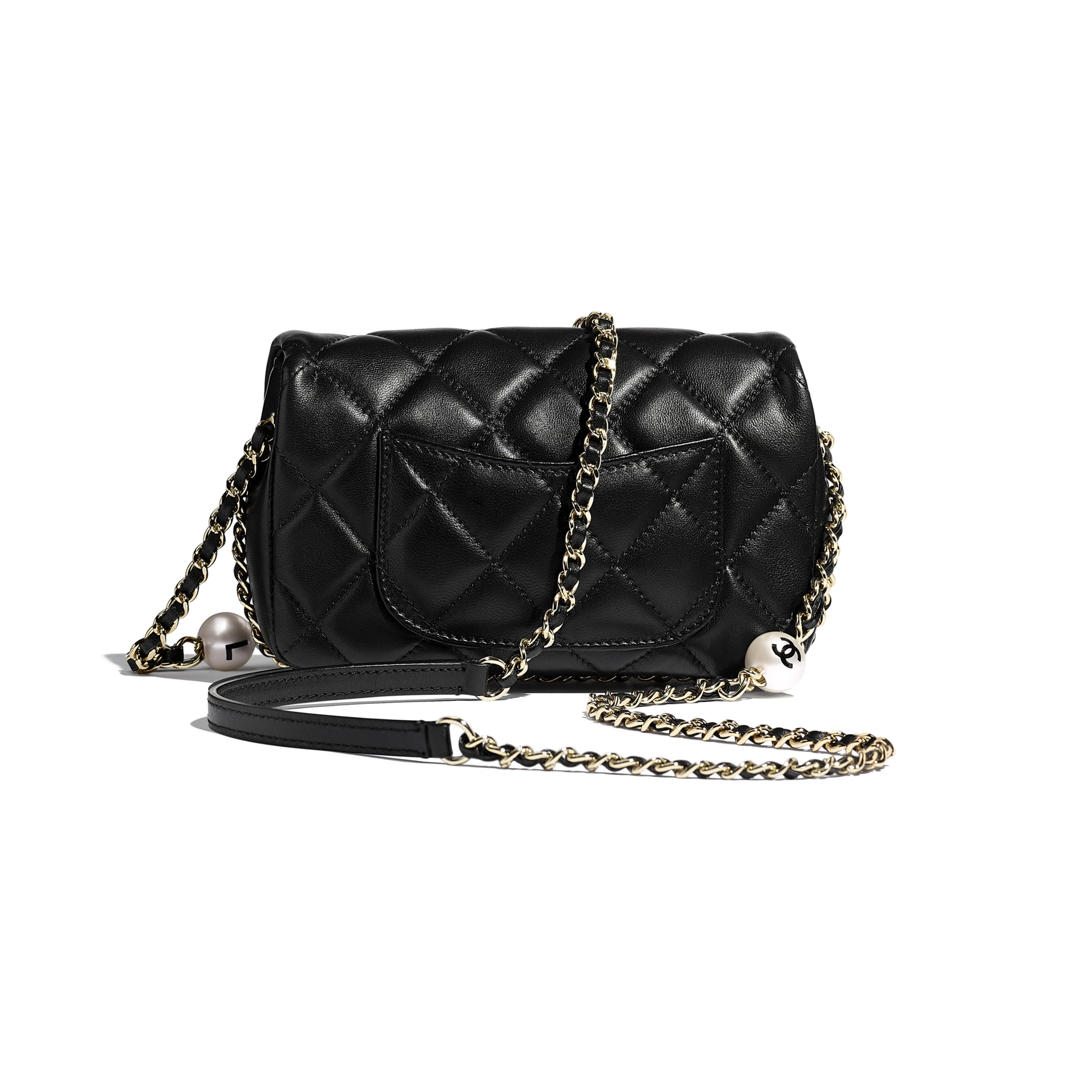 Small Flap Bag - Black - Lambskin, Imitation Pearls & Gold Metal - Alternative view - see standard sized version