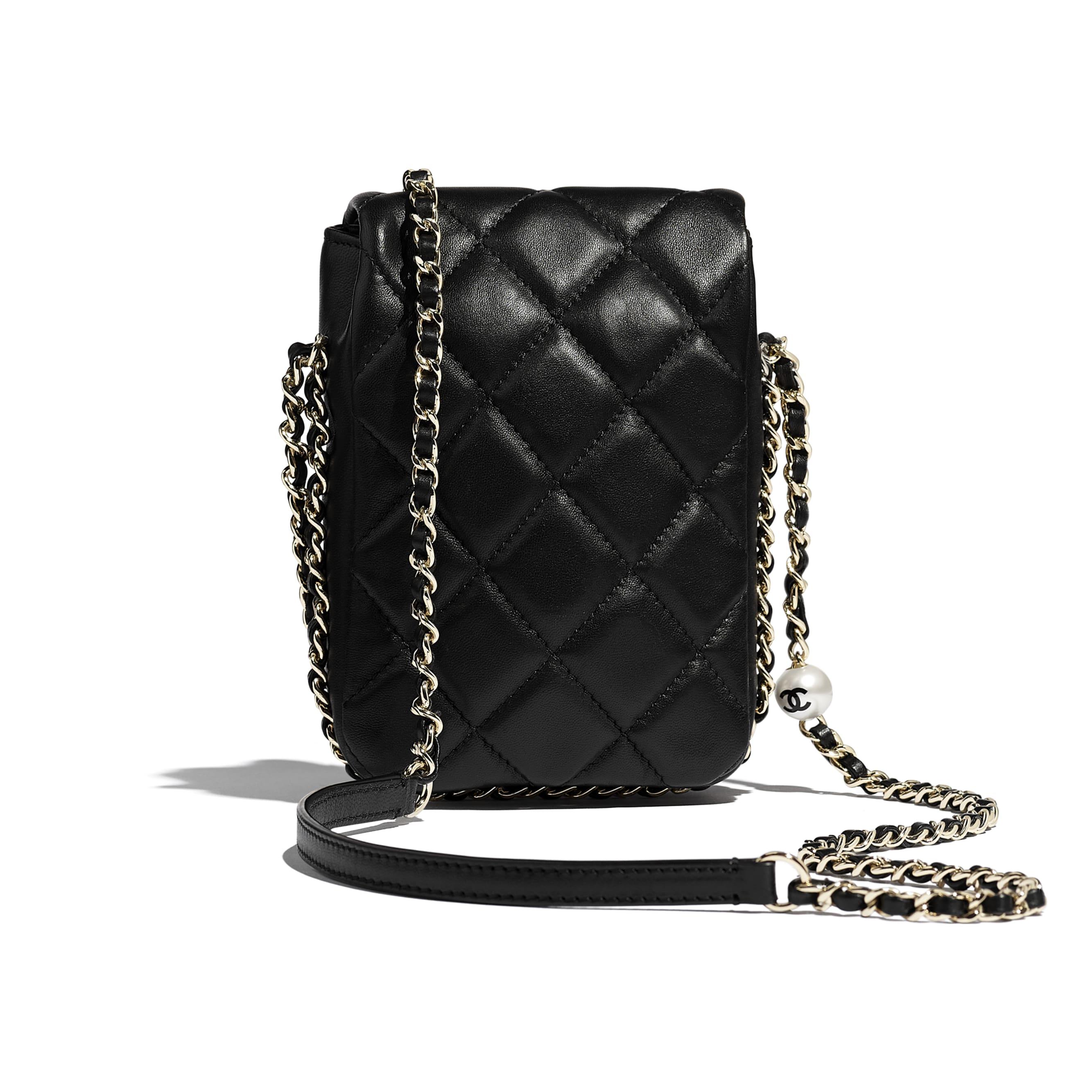 Small Flap Bag - Black - Lambskin, Imitation Pearls & Gold-Tone Metal - CHANEL - Alternative view - see standard sized version