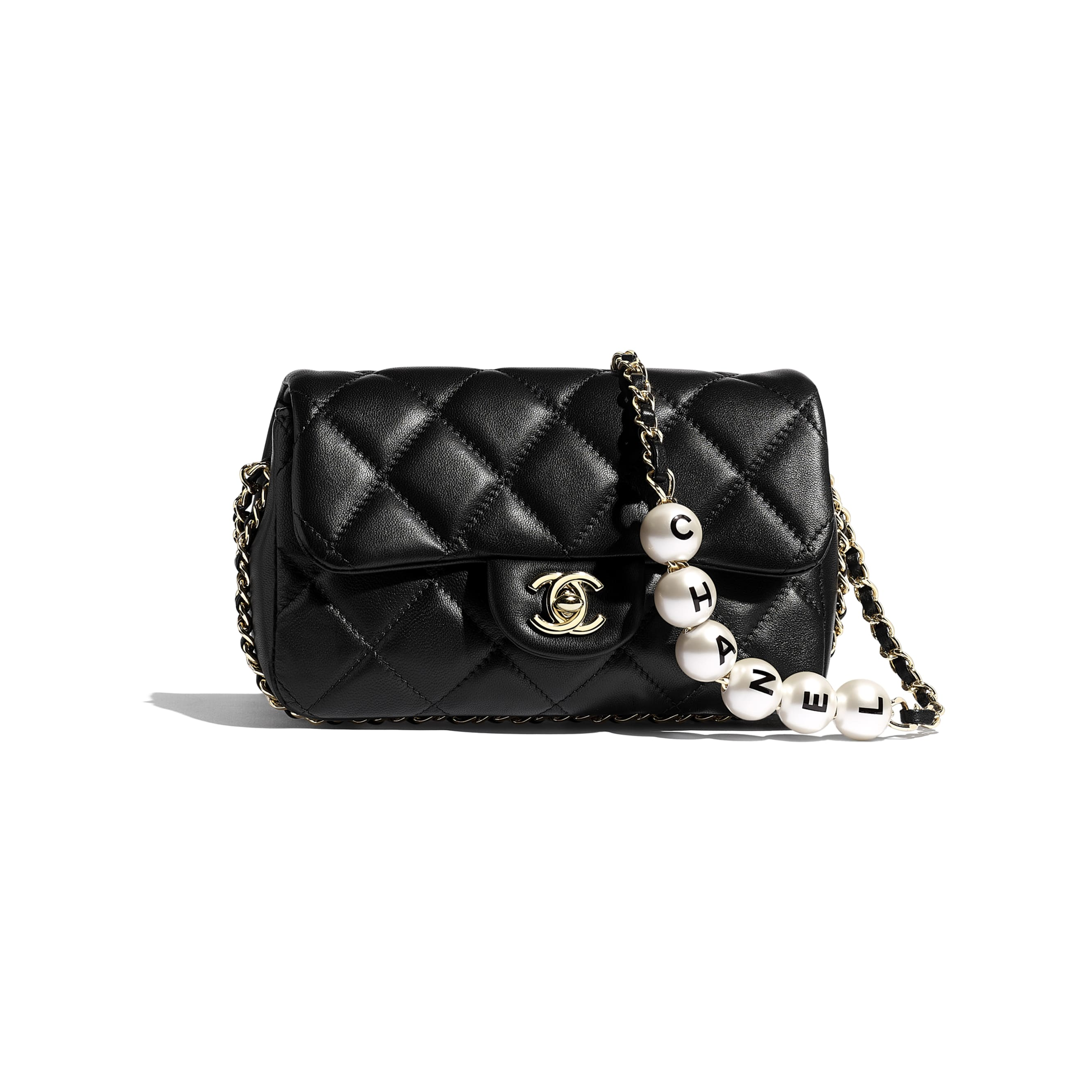 Small Flap Bag - Black - Lambskin, Imitation Pearls & Gold Metal - Default view - see standard sized version