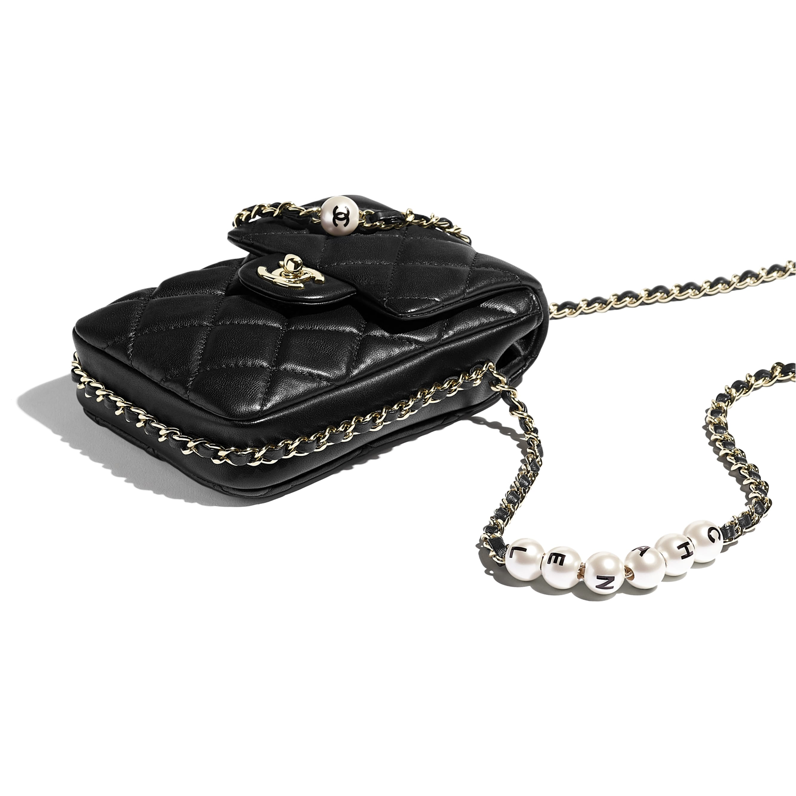 Small Flap Bag - Black - Lambskin, Imitation Pearls & Gold-Tone Metal - CHANEL - Extra view - see standard sized version