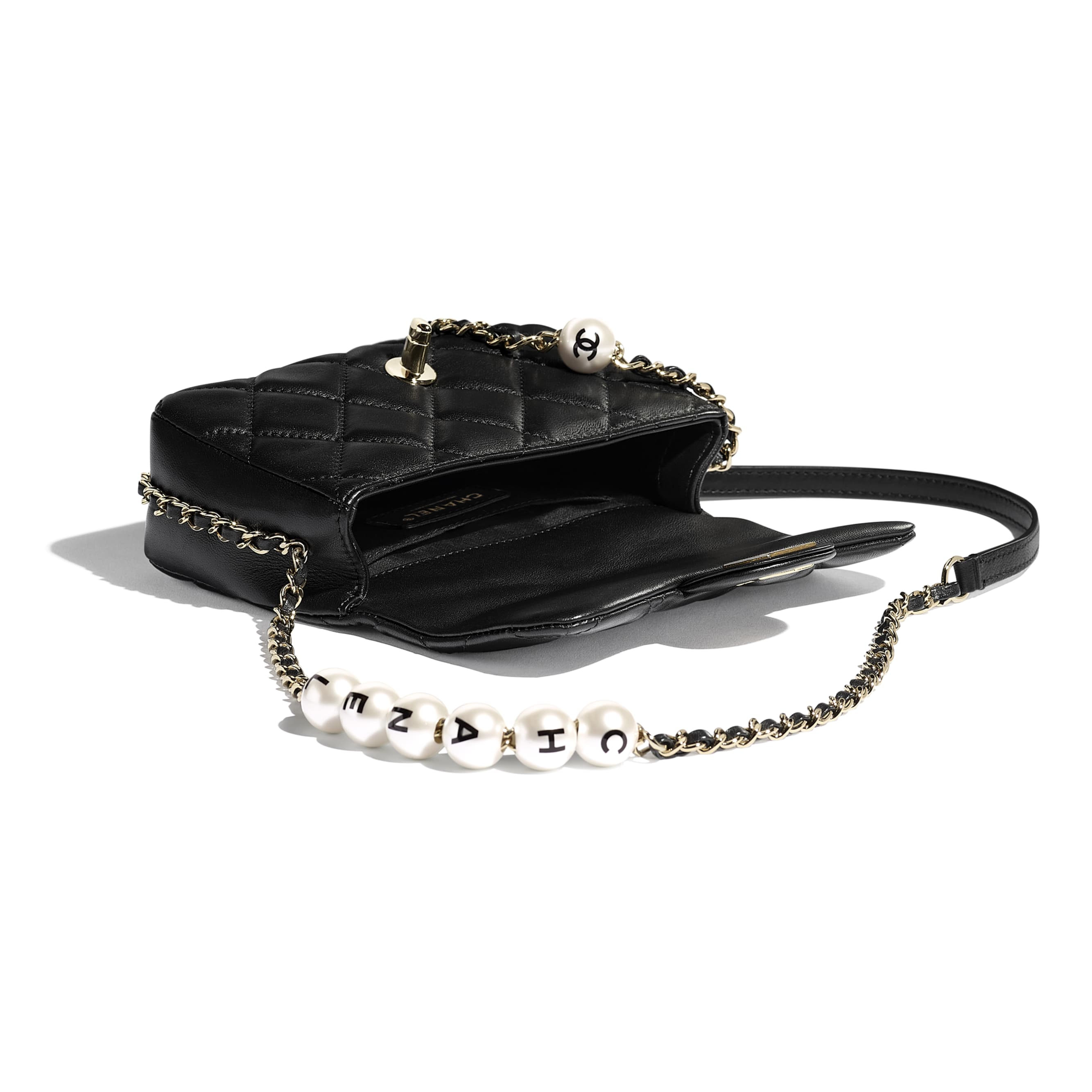 Small Flap Bag - Black - Lambskin, Imitation Pearls & Gold Metal - Other view - see standard sized version