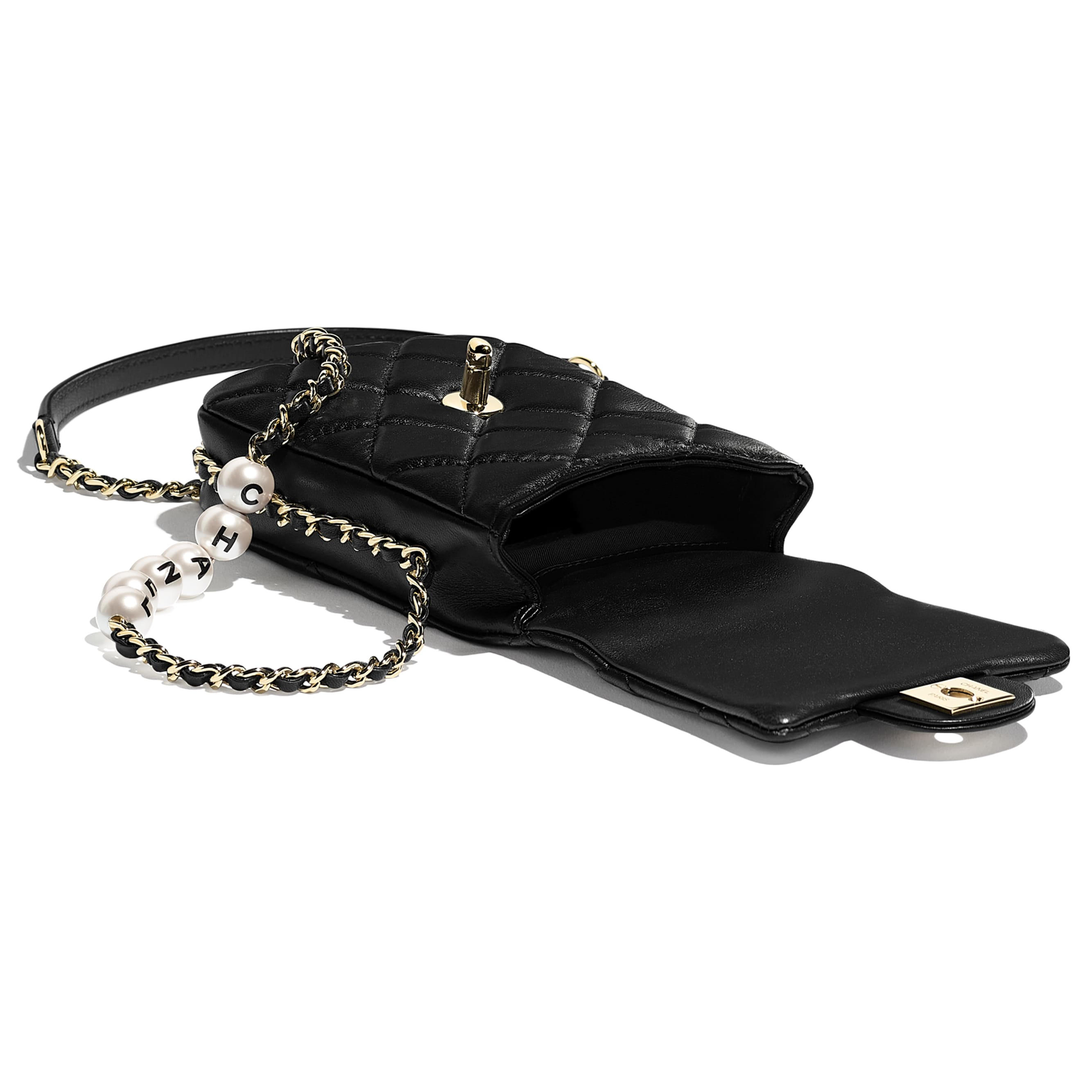 Small Flap Bag - Black - Lambskin, Imitation Pearls & Gold-Tone Metal - CHANEL - Other view - see standard sized version