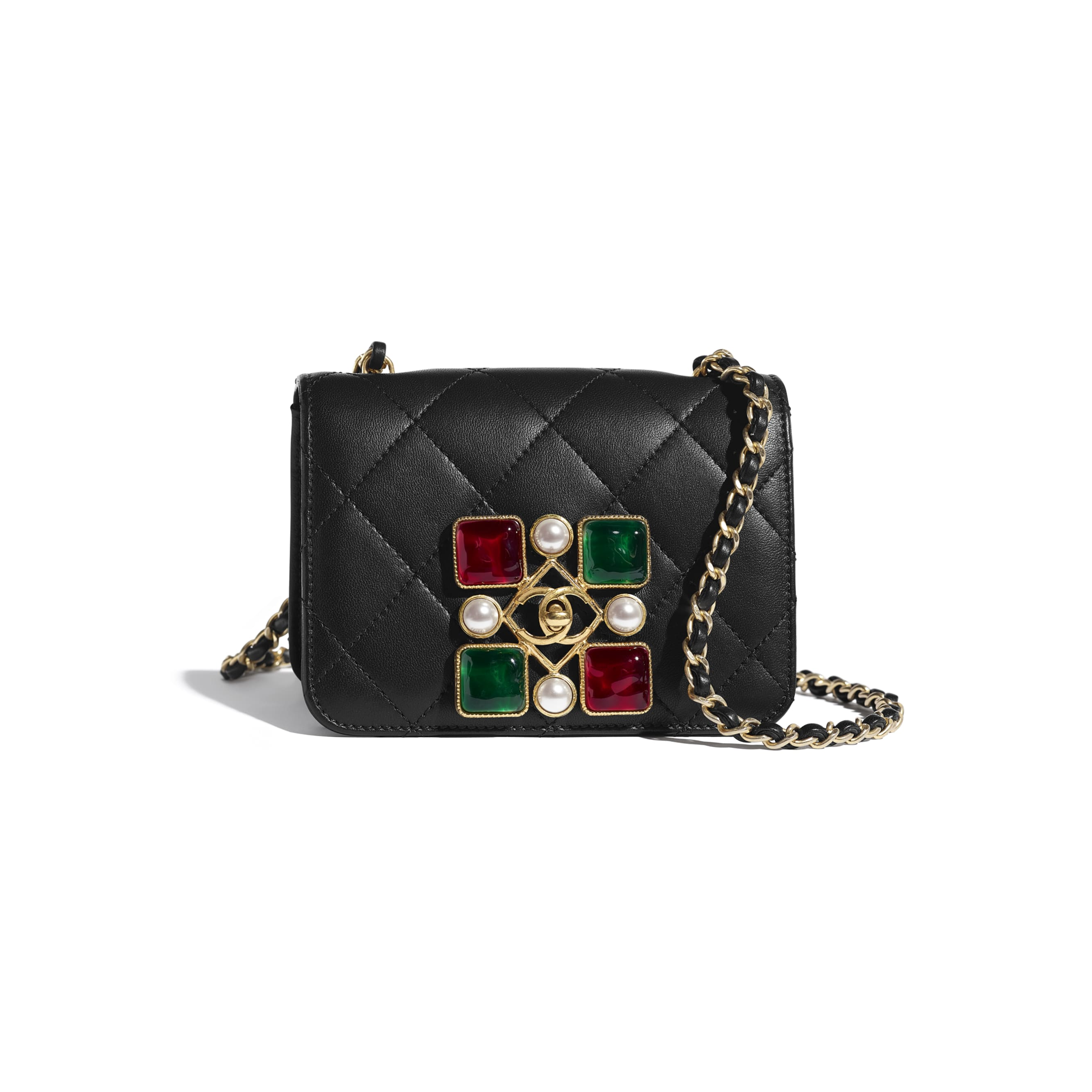 Small Flap Bag - Black, Red & Green - Calfskin, Crystal Pearls, Resin & Gold-Tone Metal - CHANEL - Default view - see standard sized version