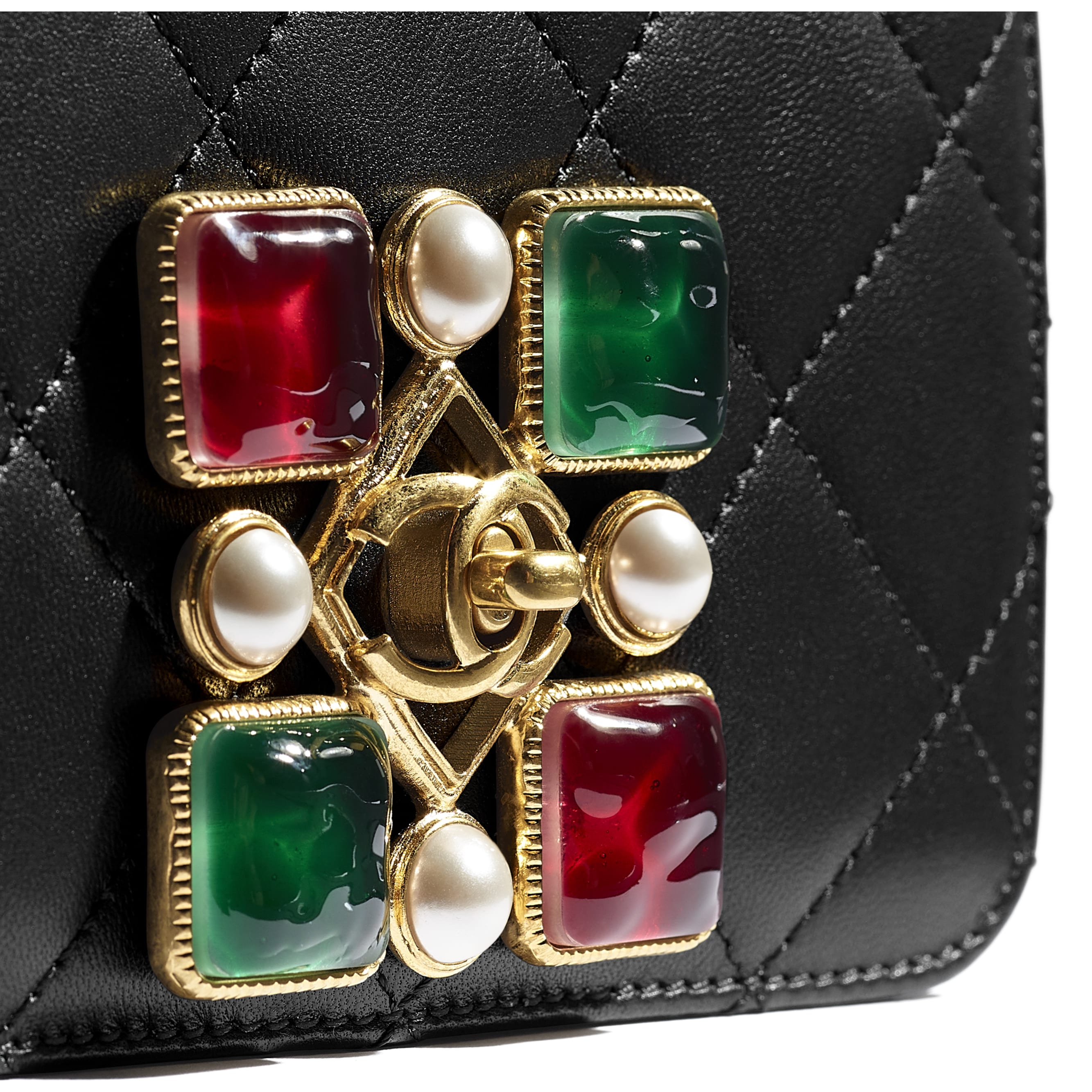 Small Flap Bag - Black, Red & Green - Calfskin, Crystal Pearls, Resin & Gold-Tone Metal - CHANEL - Extra view - see standard sized version