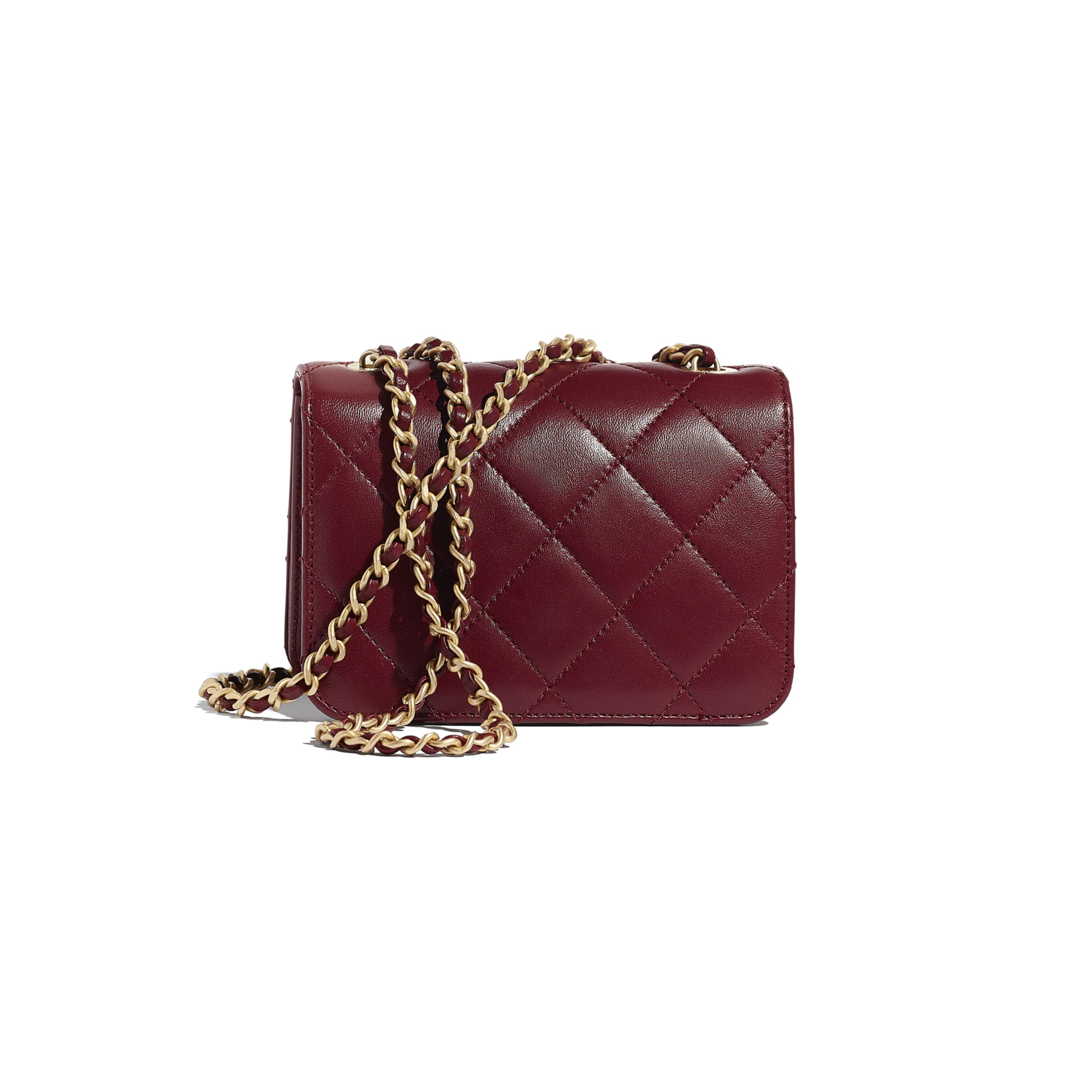 Small Flap Bag - Burgundy - Calfskin, Crystal Pearls, Resin & Gold-Tone Metal - CHANEL - Alternative view - see standard sized version