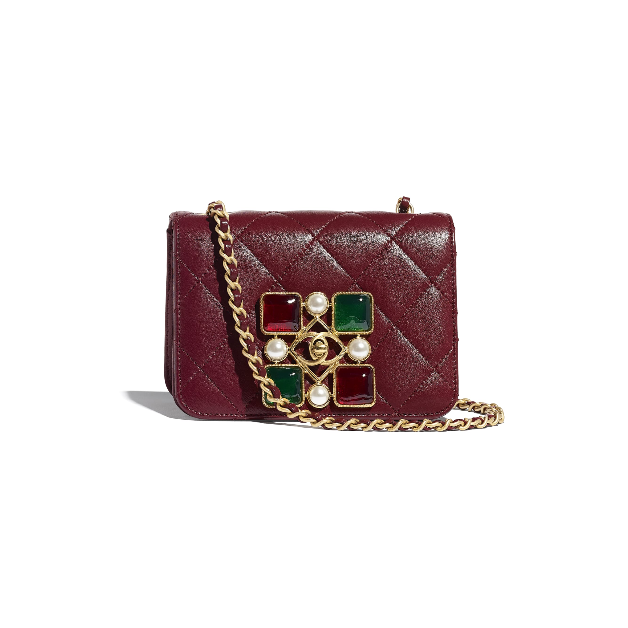 Small Flap Bag - Burgundy - Calfskin, Crystal Pearls, Resin & Gold-Tone Metal - CHANEL - Default view - see standard sized version
