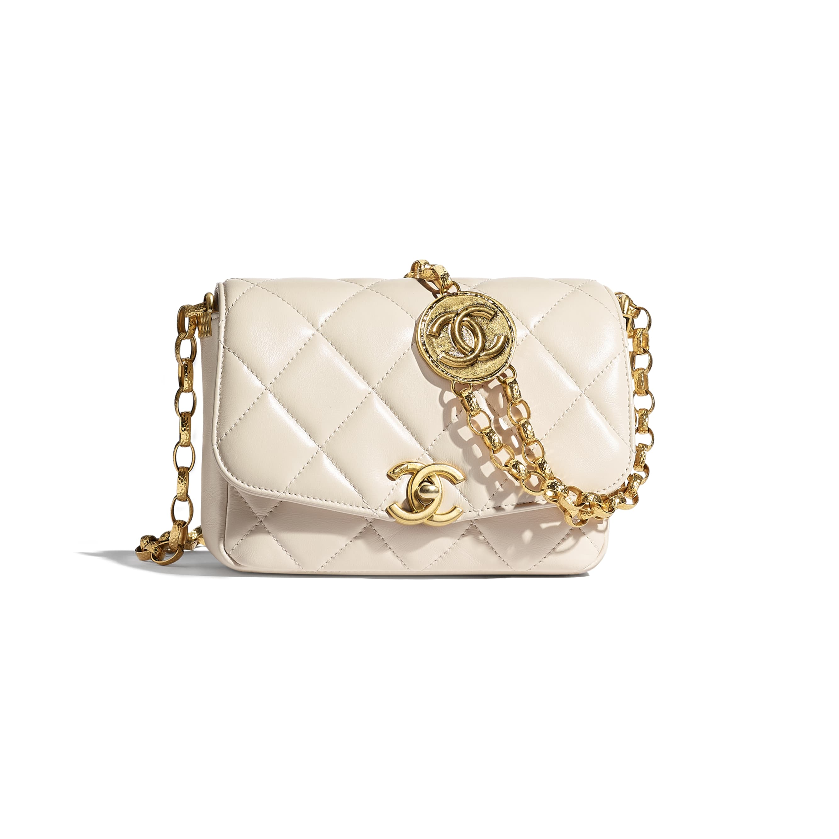 Small Flap Bag - Ecru - Lambskin - CHANEL - Default view - see standard sized version