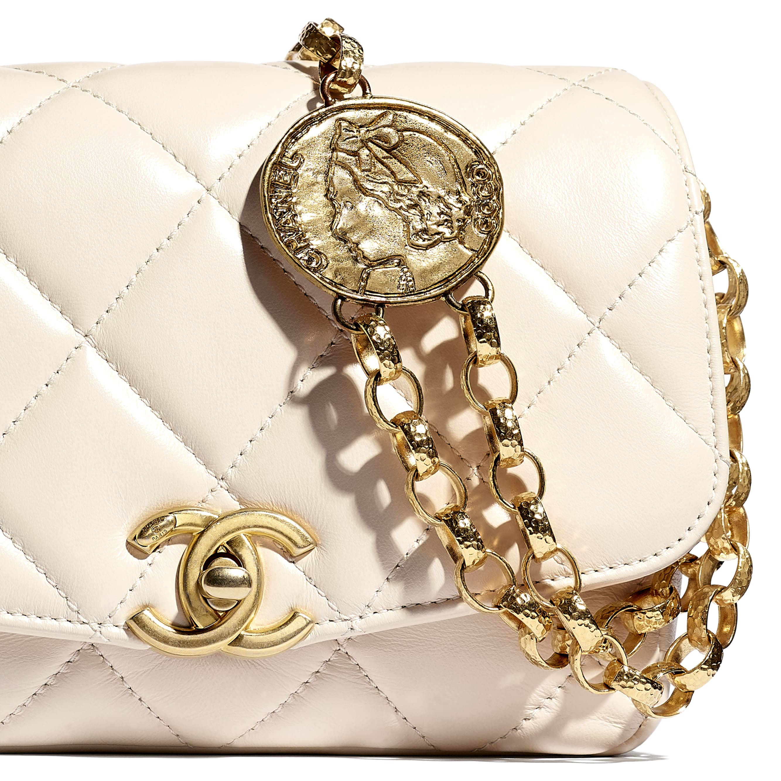 Small Flap Bag - Ecru - Lambskin - CHANEL - Extra view - see standard sized version