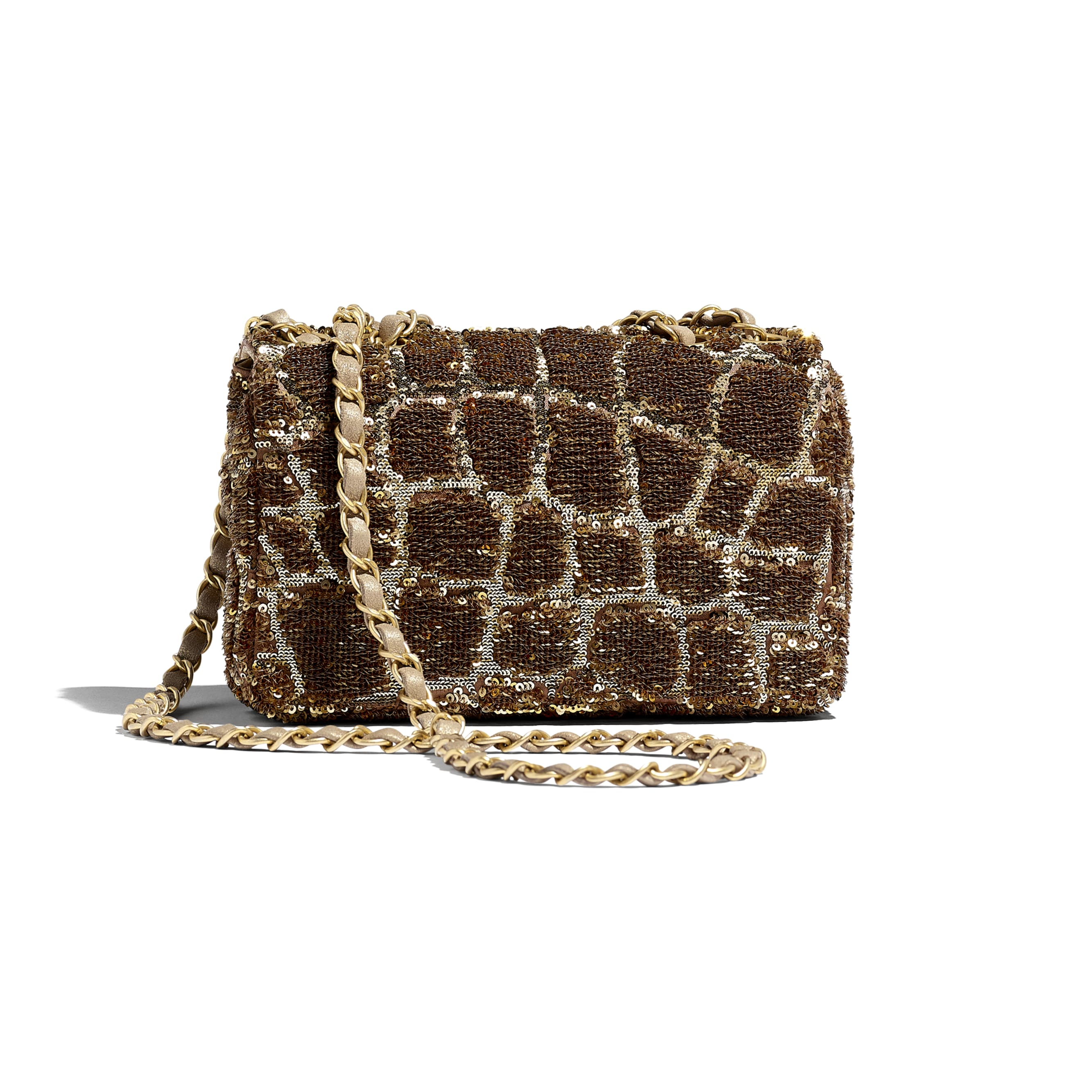 Small Flap Bag - Gold & Copper - Sequins & Gold-Tone Metal - Alternative view - see standard sized version