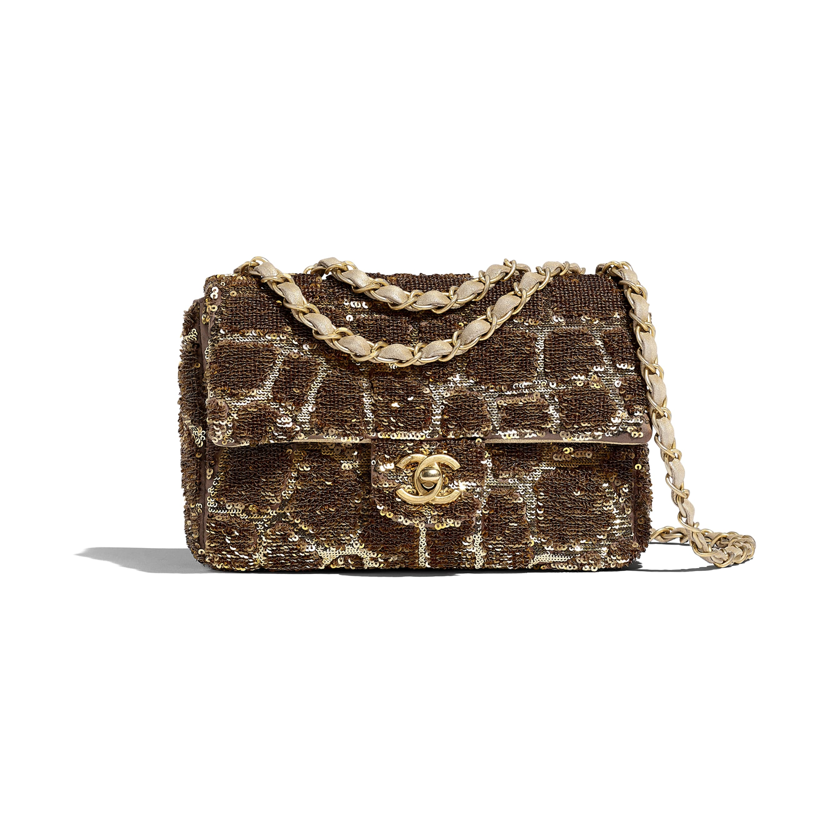 Small Flap Bag - Gold & Copper - Sequins & Gold-Tone Metal - Default view - see standard sized version