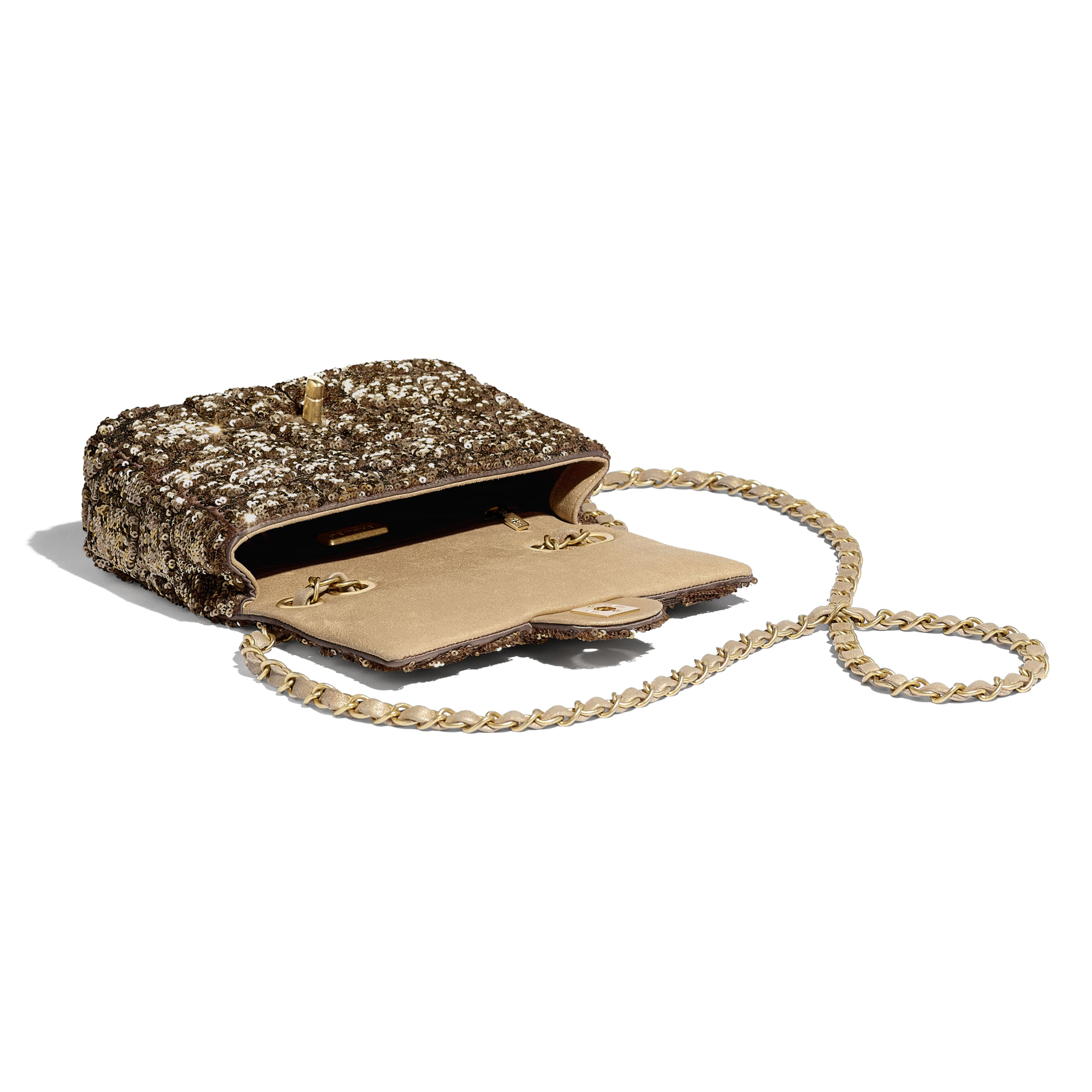 Small Flap Bag - Gold & Copper - Sequins & Gold-Tone Metal - Other view - see standard sized version