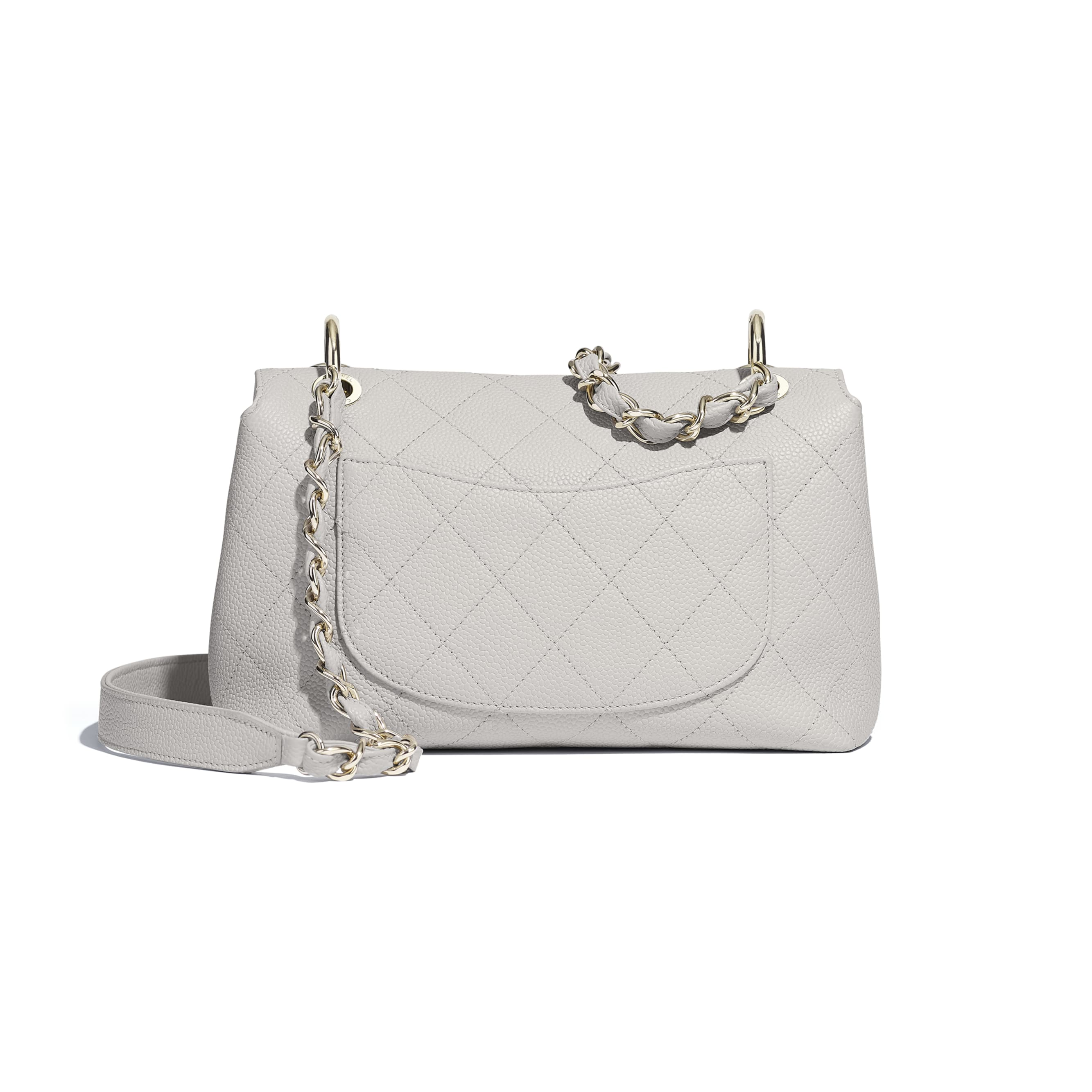 Small Flap Bag - Grey - Grained Calfskin & Gold-Tone Metal - CHANEL - Alternative view - see standard sized version