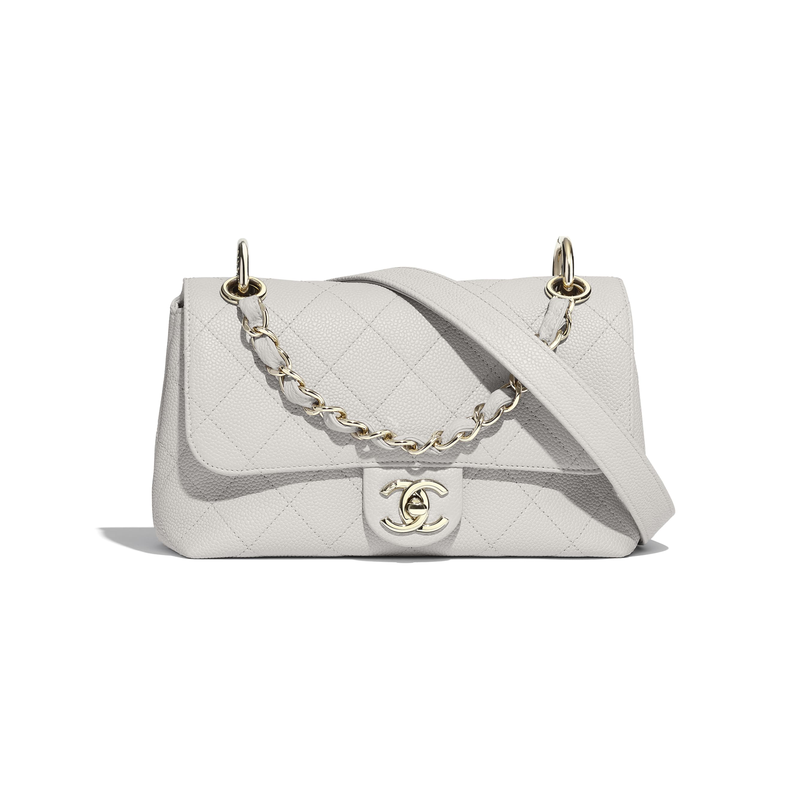 Small Flap Bag - Grey - Grained Calfskin & Gold-Tone Metal - CHANEL - Default view - see standard sized version