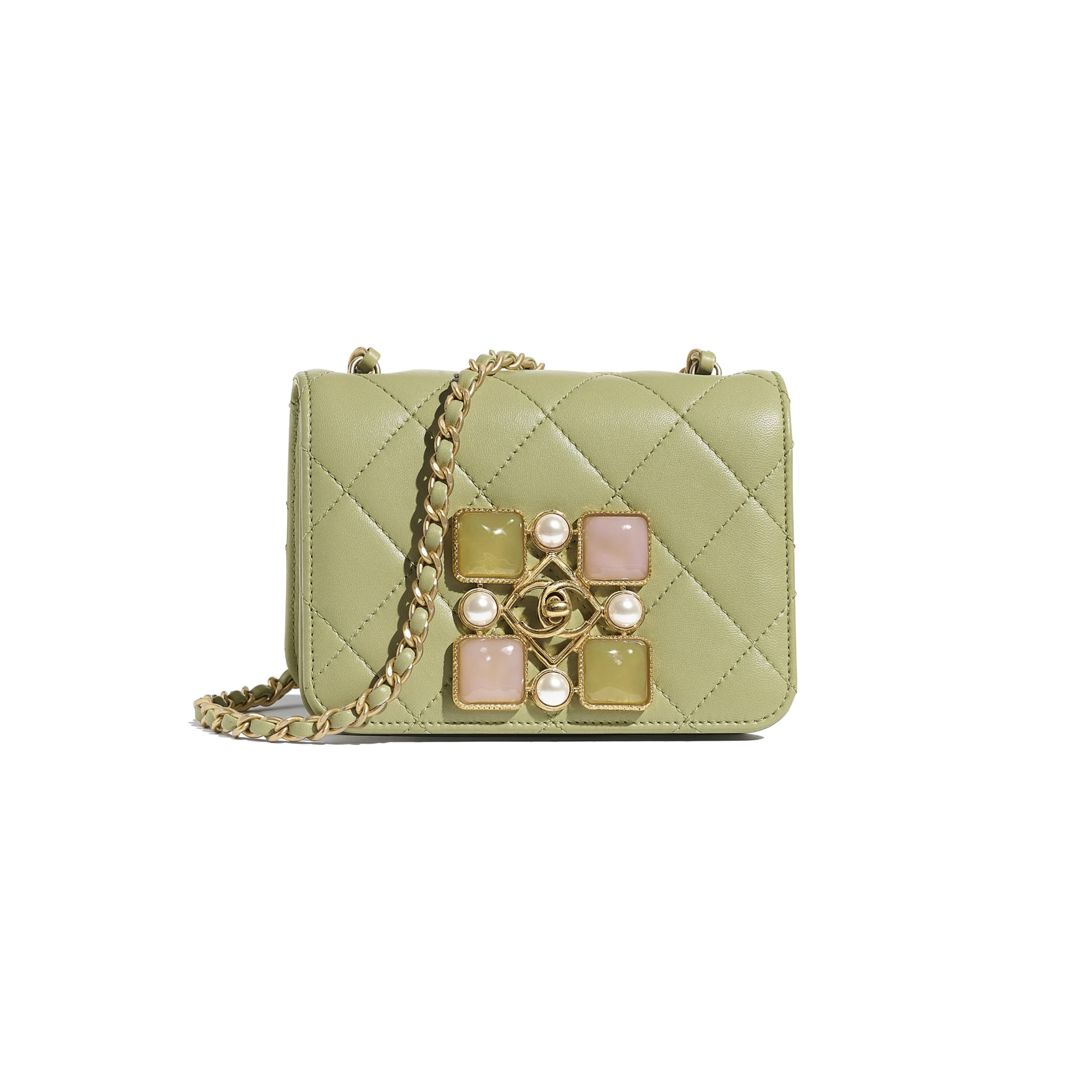 Small Flap Bag - Green - Calfskin, Crystal Pearls, Resin & Gold-Tone Metal - CHANEL - Default view - see standard sized version