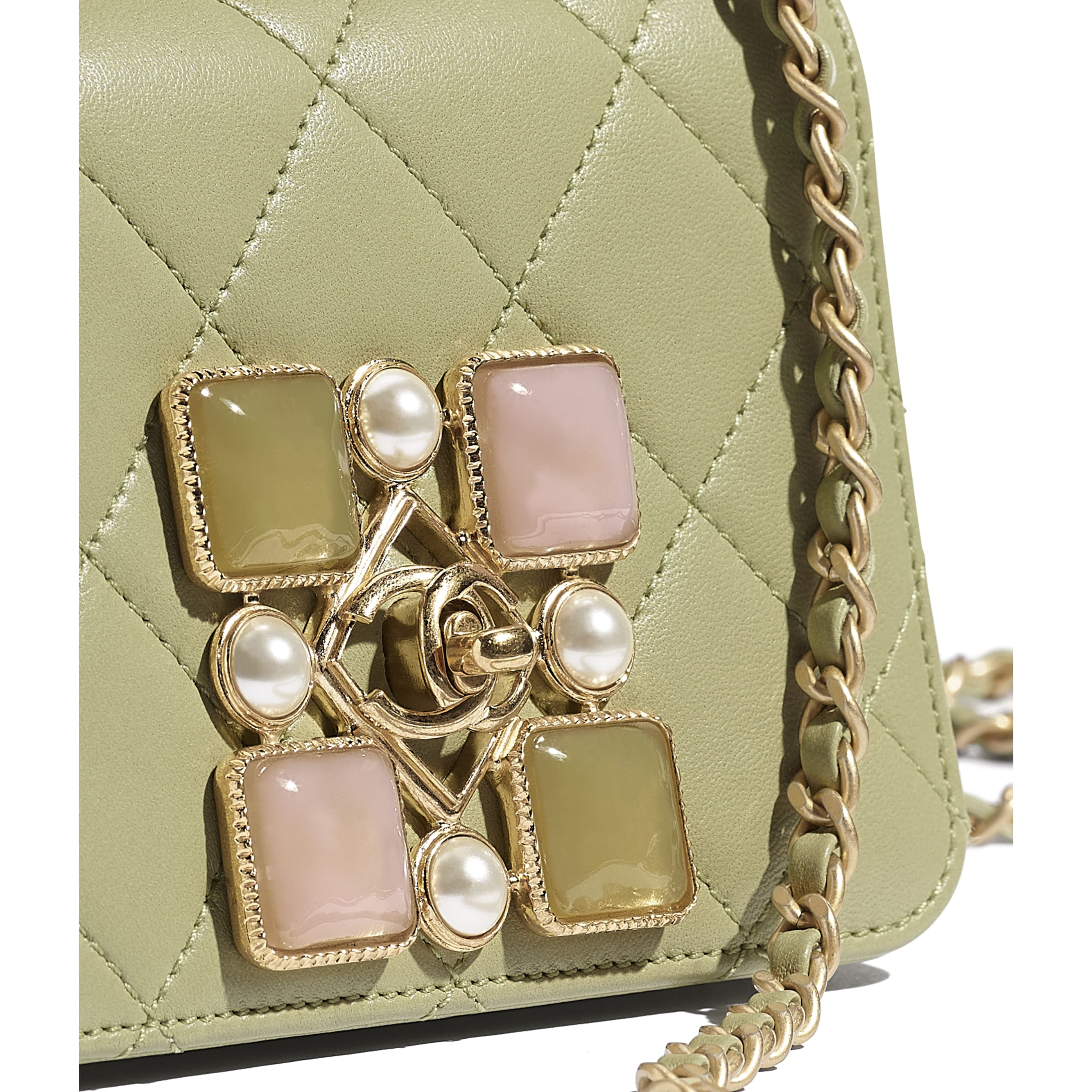 Small Flap Bag - Green - Calfskin, Crystal Pearls, Resin & Gold-Tone Metal - CHANEL - Extra view - see standard sized version