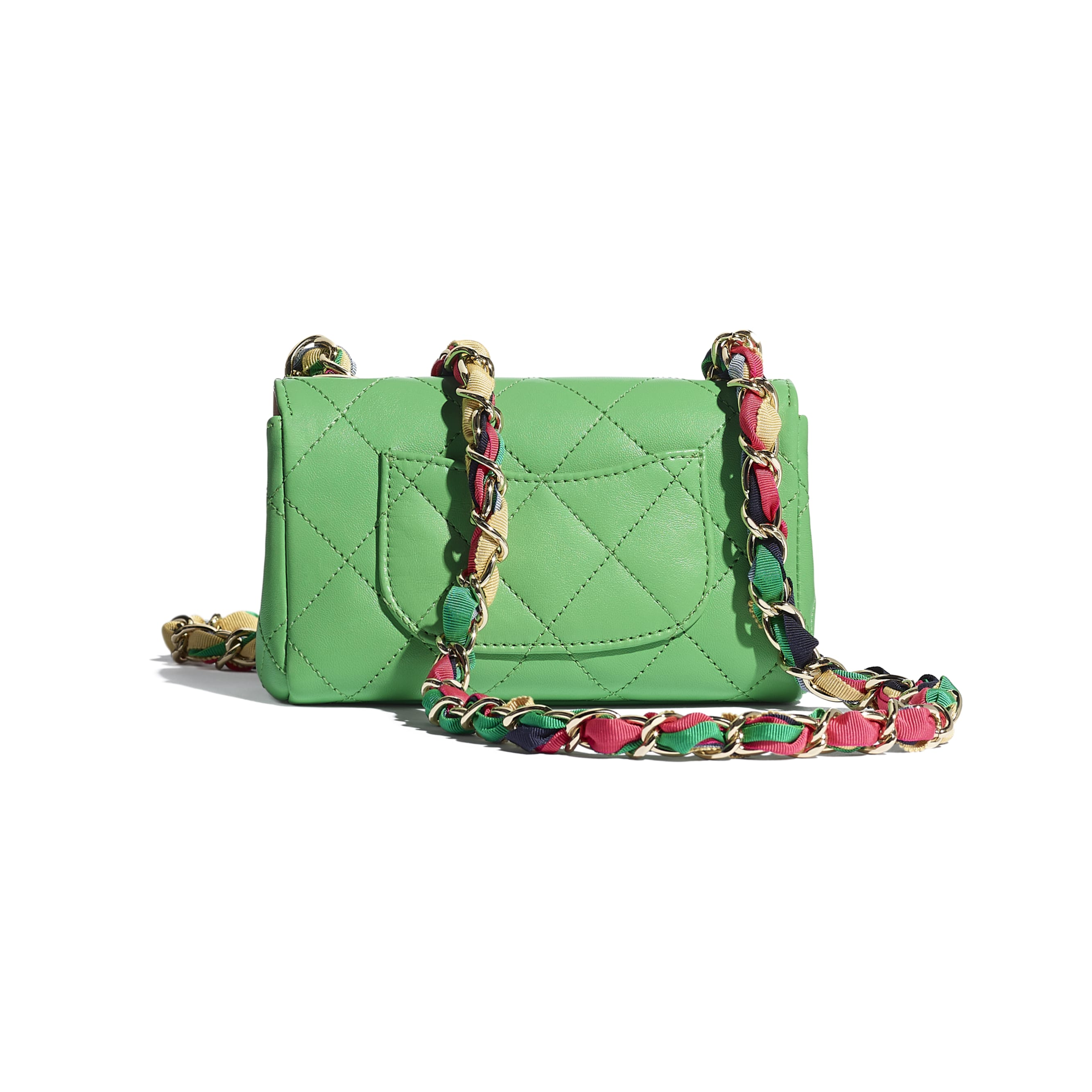 Small Flap Bag - Green - Lambskin, Mixed Fibers & Gold-Tone Metal - CHANEL - Alternative view - see standard sized version