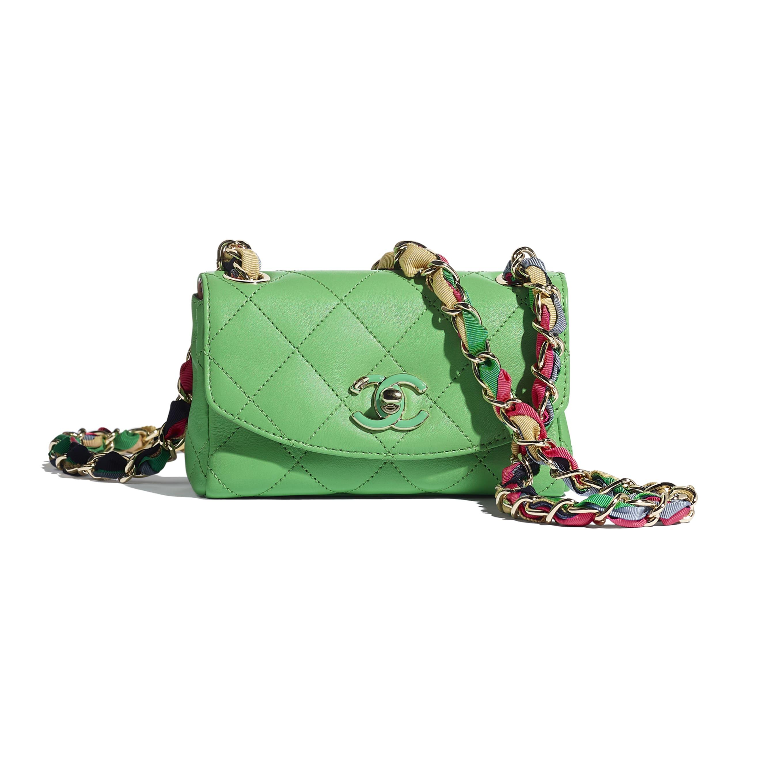 細號垂蓋手袋 - 綠色 - 小羊皮、混合纖維及金色金屬 - CHANEL - 預設視圖 - 查看標準尺寸版本