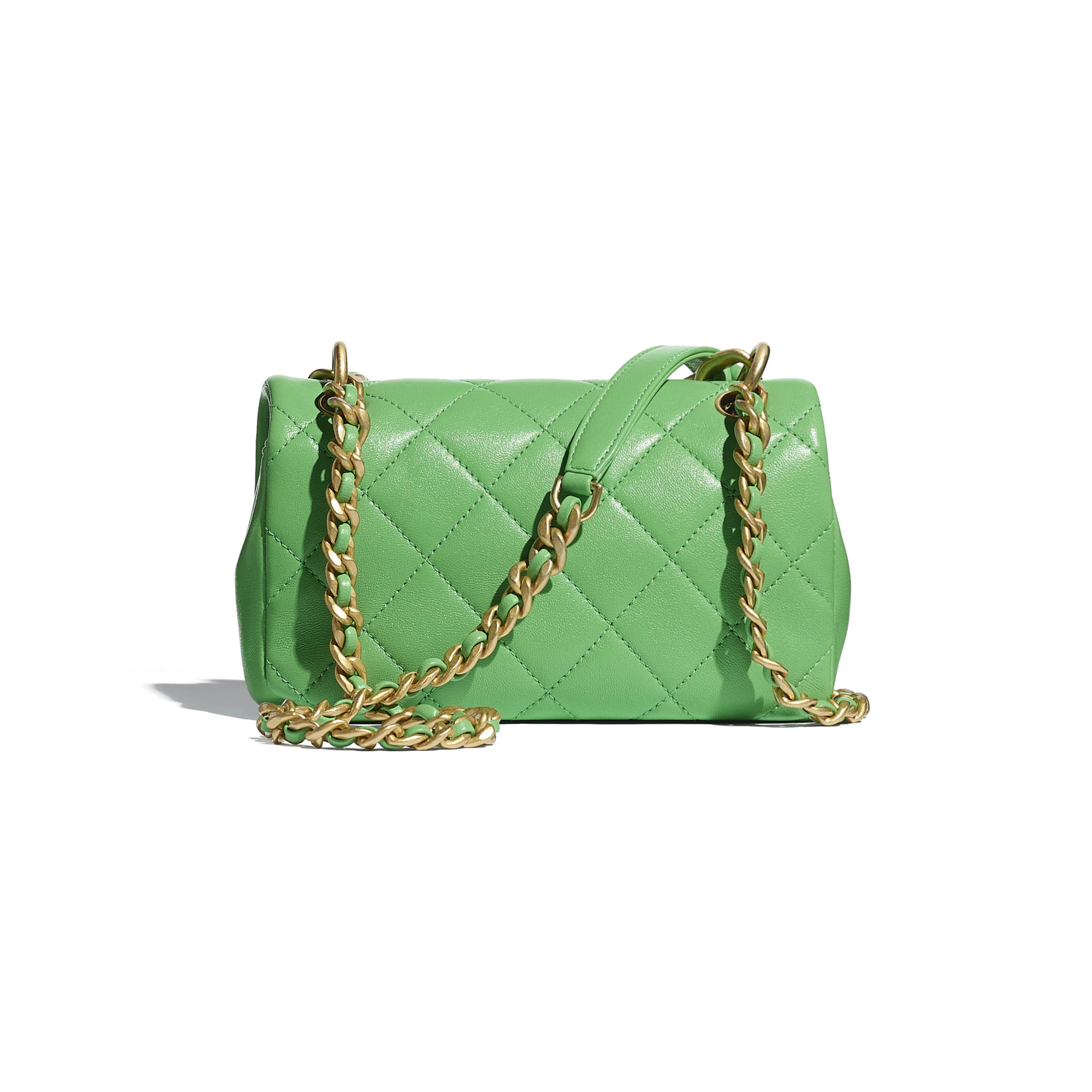 Small Flap Bag - Green - Shiny Lambskin & Gold-Tone Metal - CHANEL - Alternative view - see standard sized version