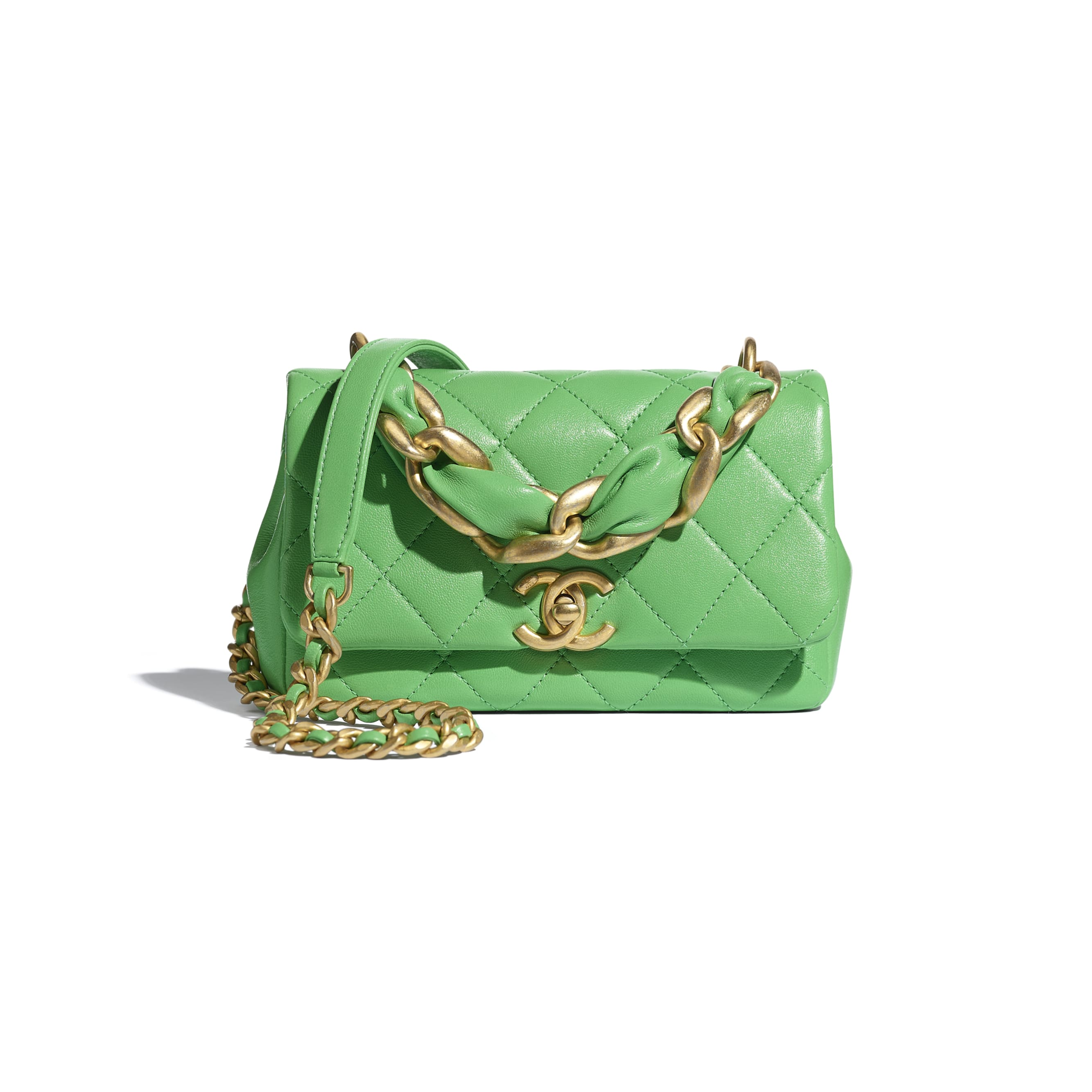 Small Flap Bag - Green - Shiny Lambskin & Gold-Tone Metal - CHANEL - Default view - see standard sized version