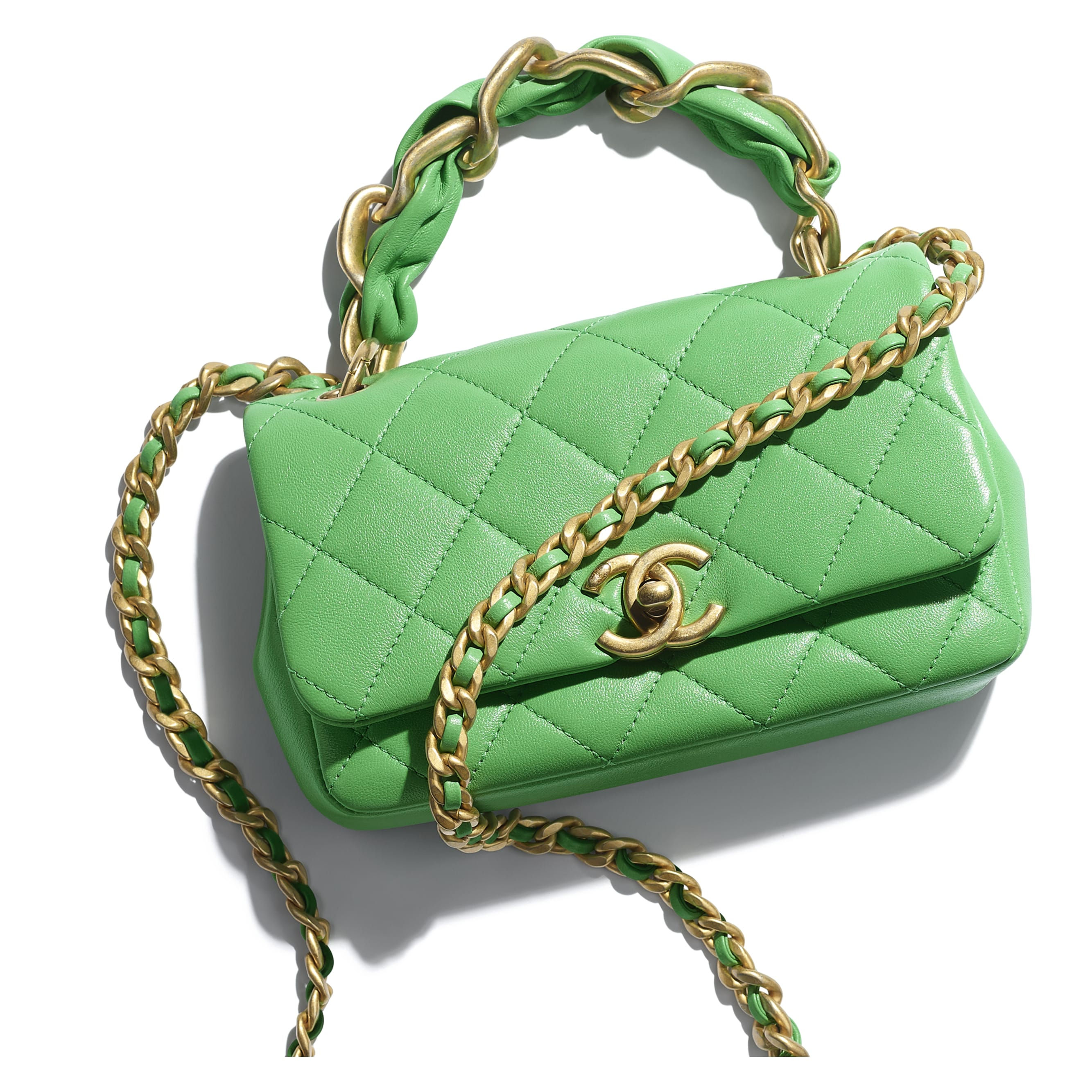 Small Flap Bag - Green - Shiny Lambskin & Gold-Tone Metal - CHANEL - Extra view - see standard sized version