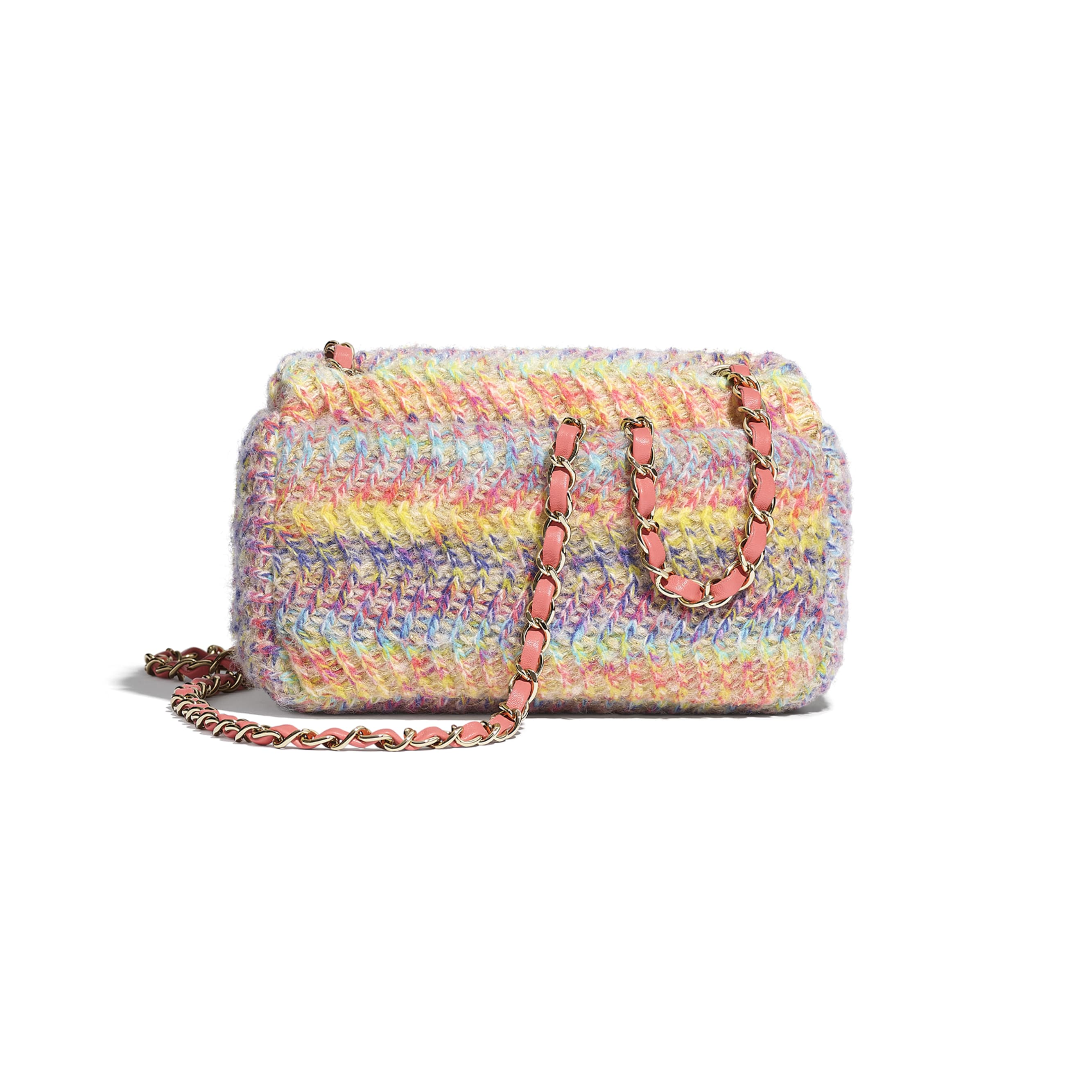 Small Flap Bag - Multicolour - Knit & Gold-Tone Metal - CHANEL - Alternative view - see standard sized version