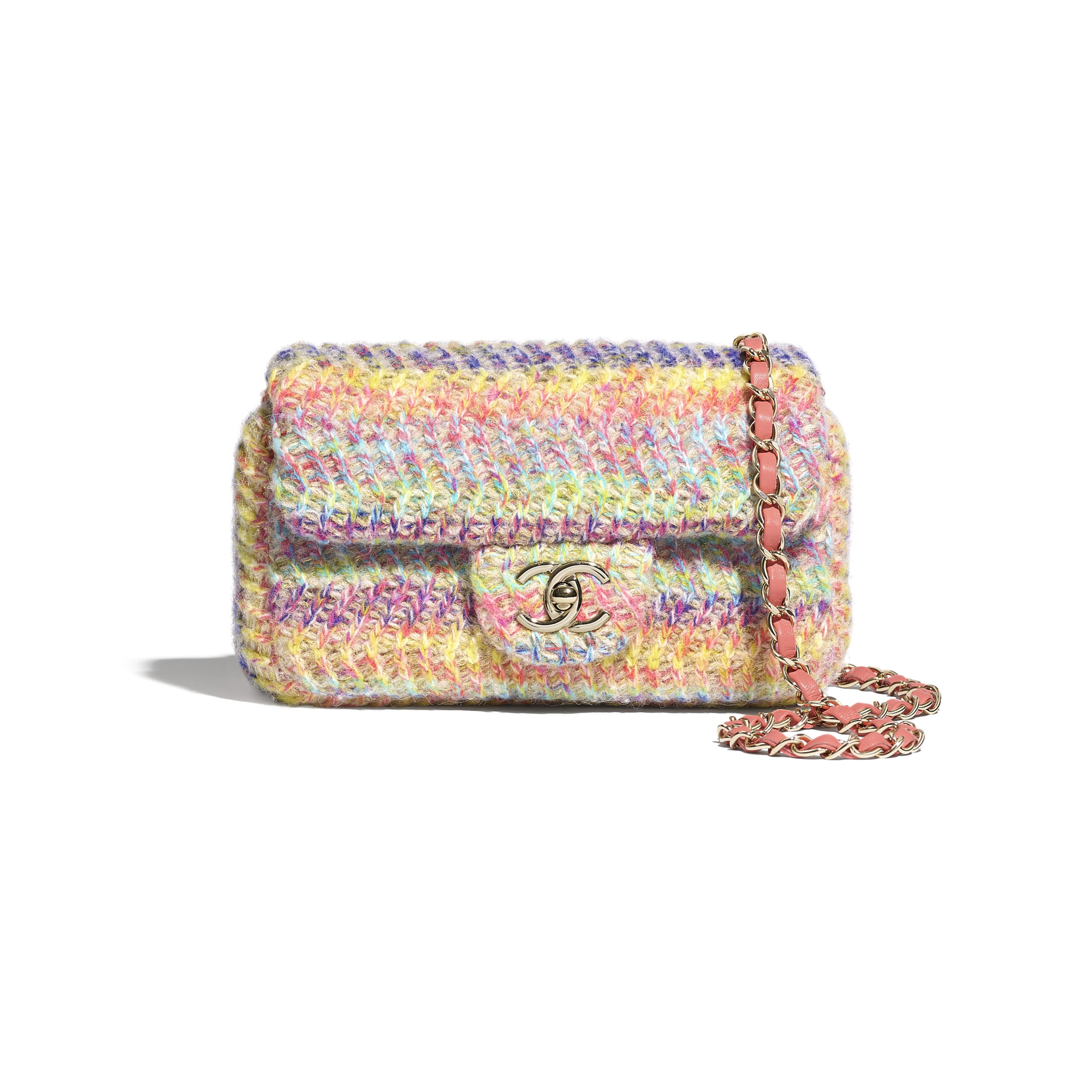 Small Flap Bag - Multicolour - Knit & Gold-Tone Metal - CHANEL - Default view - see standard sized version