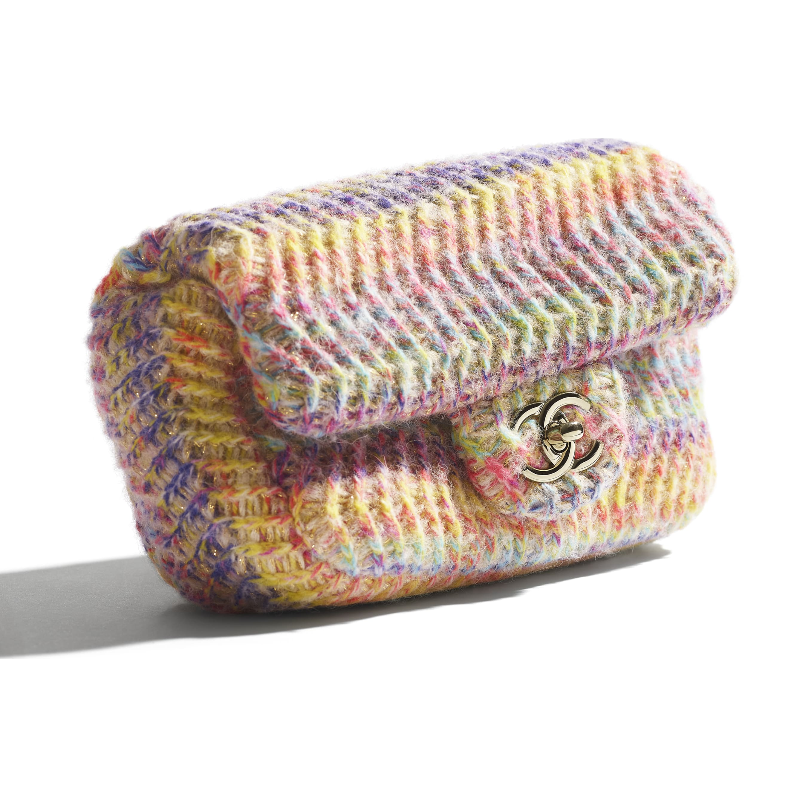 Small Flap Bag - Multicolour - Knit & Gold-Tone Metal - CHANEL - Extra view - see standard sized version