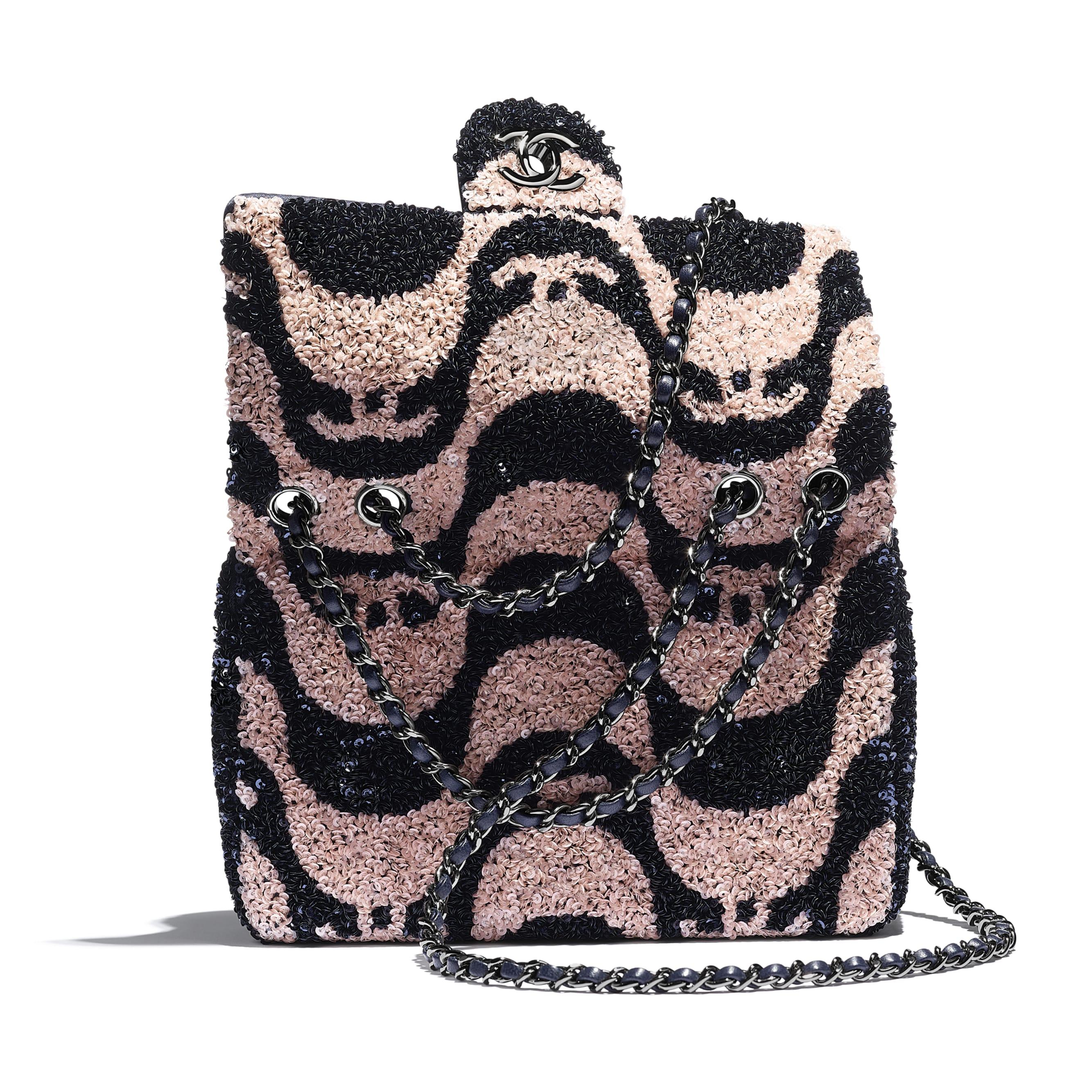 Petit sac à rabat - Bleu marine & rose - Sequins & métal ruthénium - CHANEL - Vue supplémentaire - voir la version taille standard