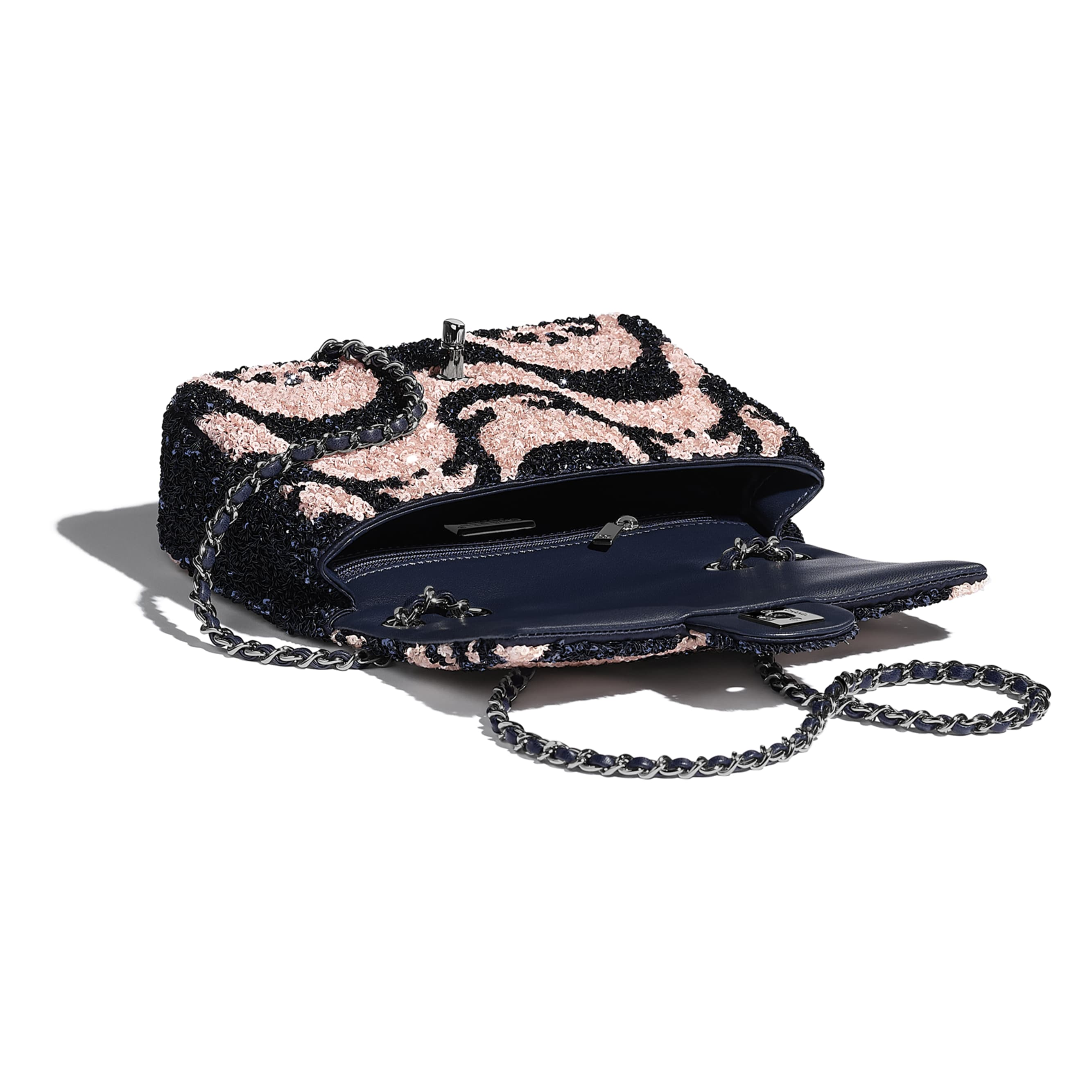 Small Flap Bag - Navy Blue & Pink - Sequins & Ruthenium-Finish Metal - CHANEL - Other view - see standard sized version