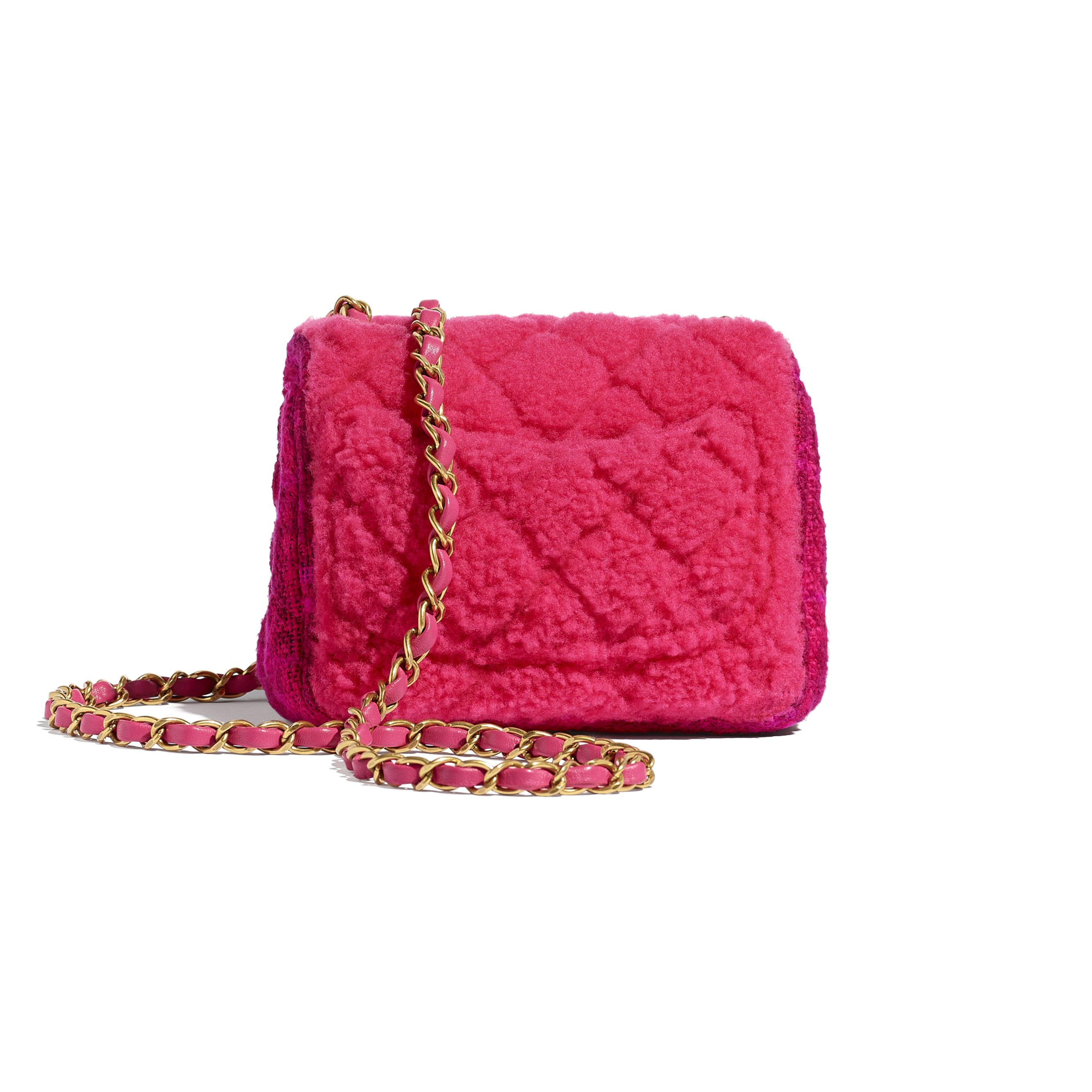 Small Flap Bag - Pink, Burgundy & Red - Shearling Sheepskin, Tweed & Gold-Tone Metal - CHANEL - Alternative view - see standard sized version