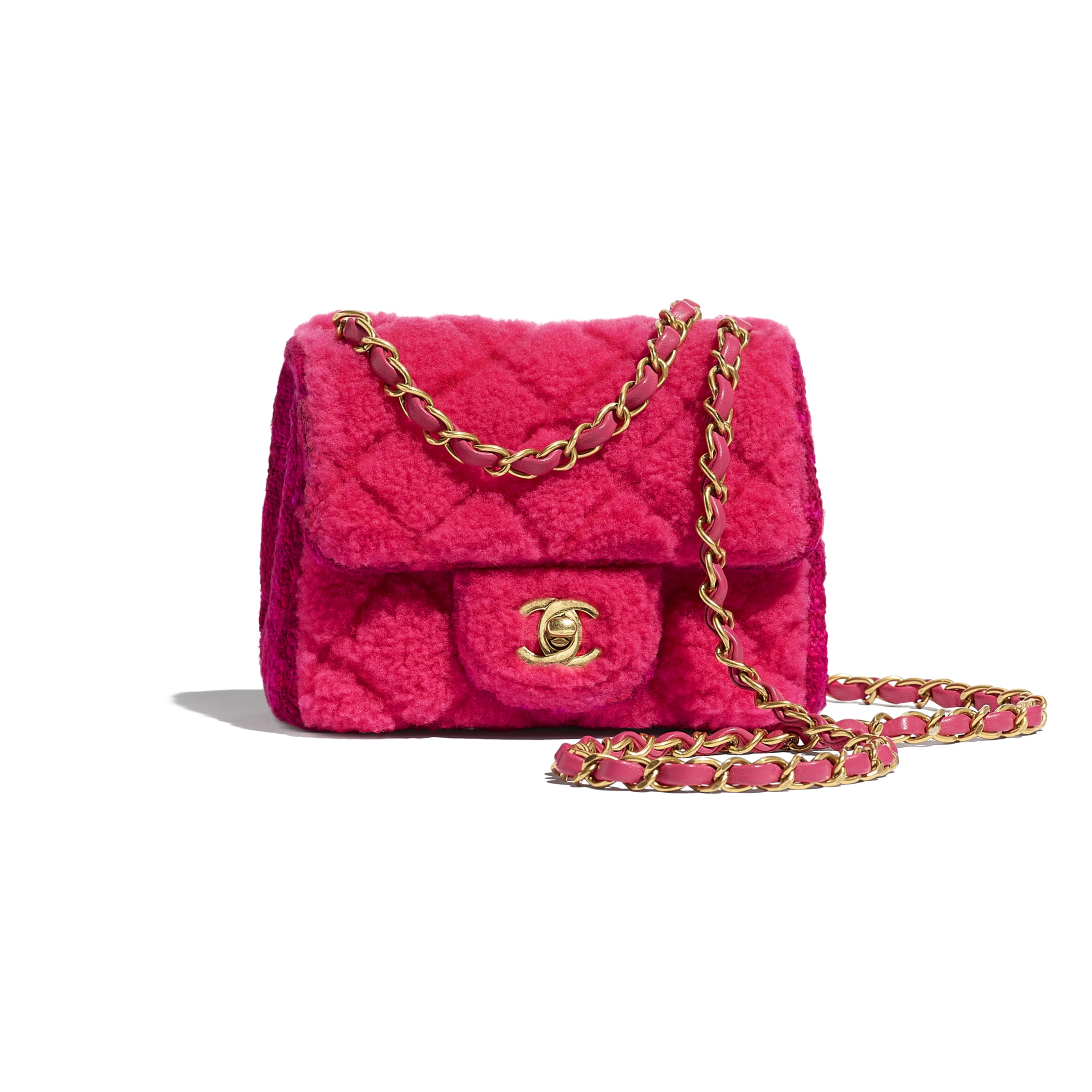 Small Flap Bag - Pink, Burgundy & Red - Shearling Sheepskin, Tweed & Gold-Tone Metal - CHANEL - Default view - see standard sized version