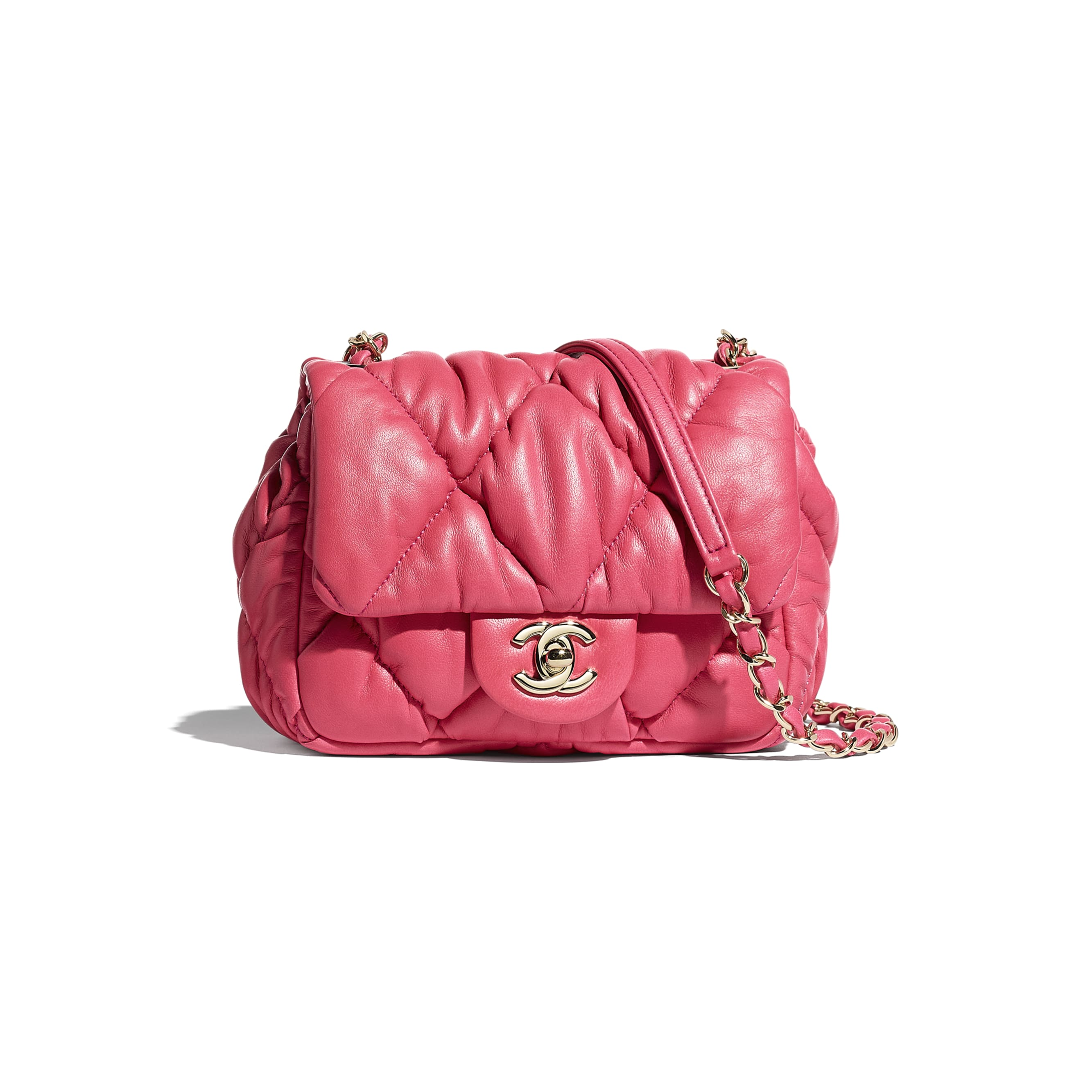 Small Flap Bag - Pink - Calfskin & Gold-Tone Metal - CHANEL - Default view - see standard sized version