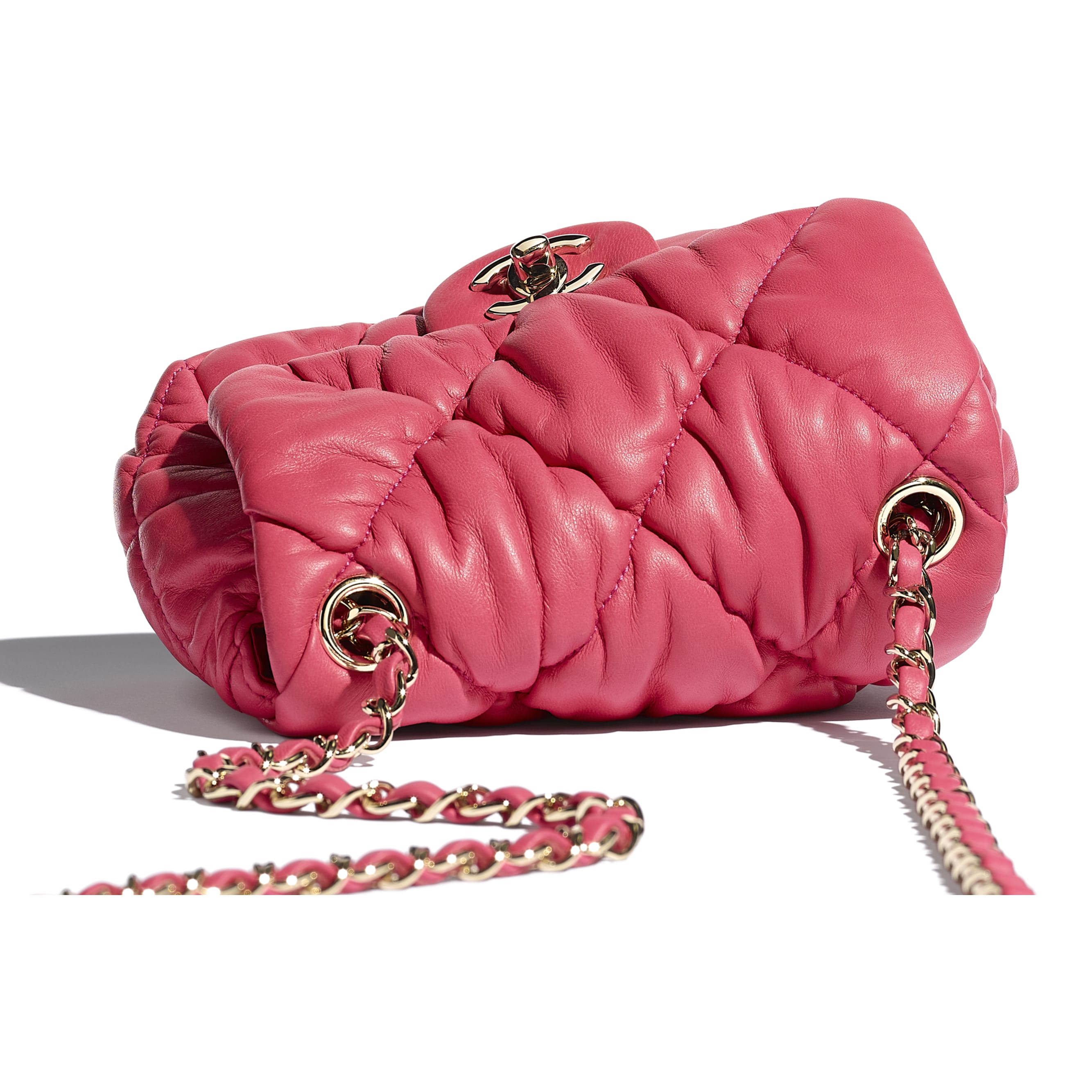 Small Flap Bag - Pink - Calfskin & Gold-Tone Metal - CHANEL - Extra view - see standard sized version