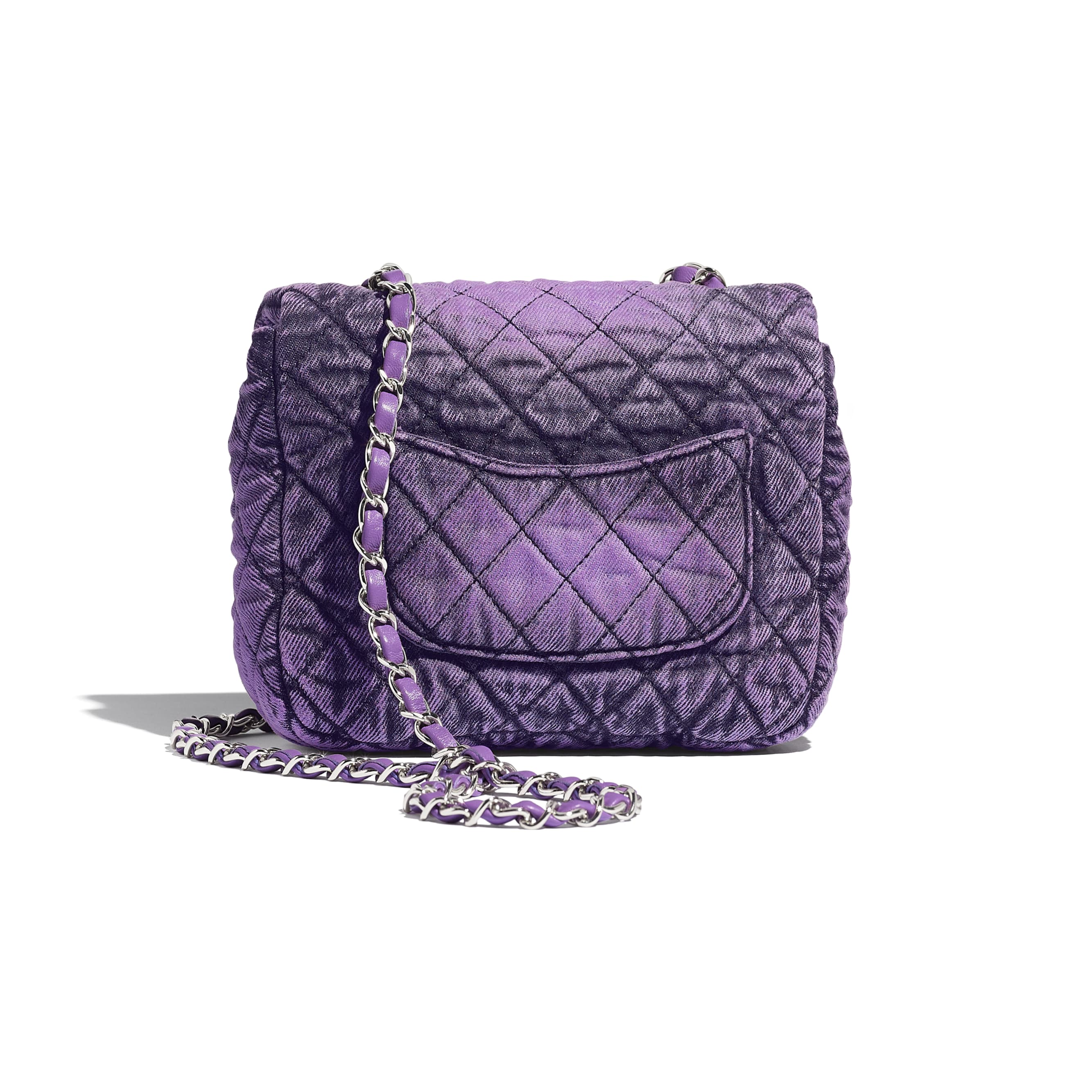 Small Flap Bag - Purple & Black - Denim & Silver-Tone Metal - CHANEL - Alternative view - see standard sized version